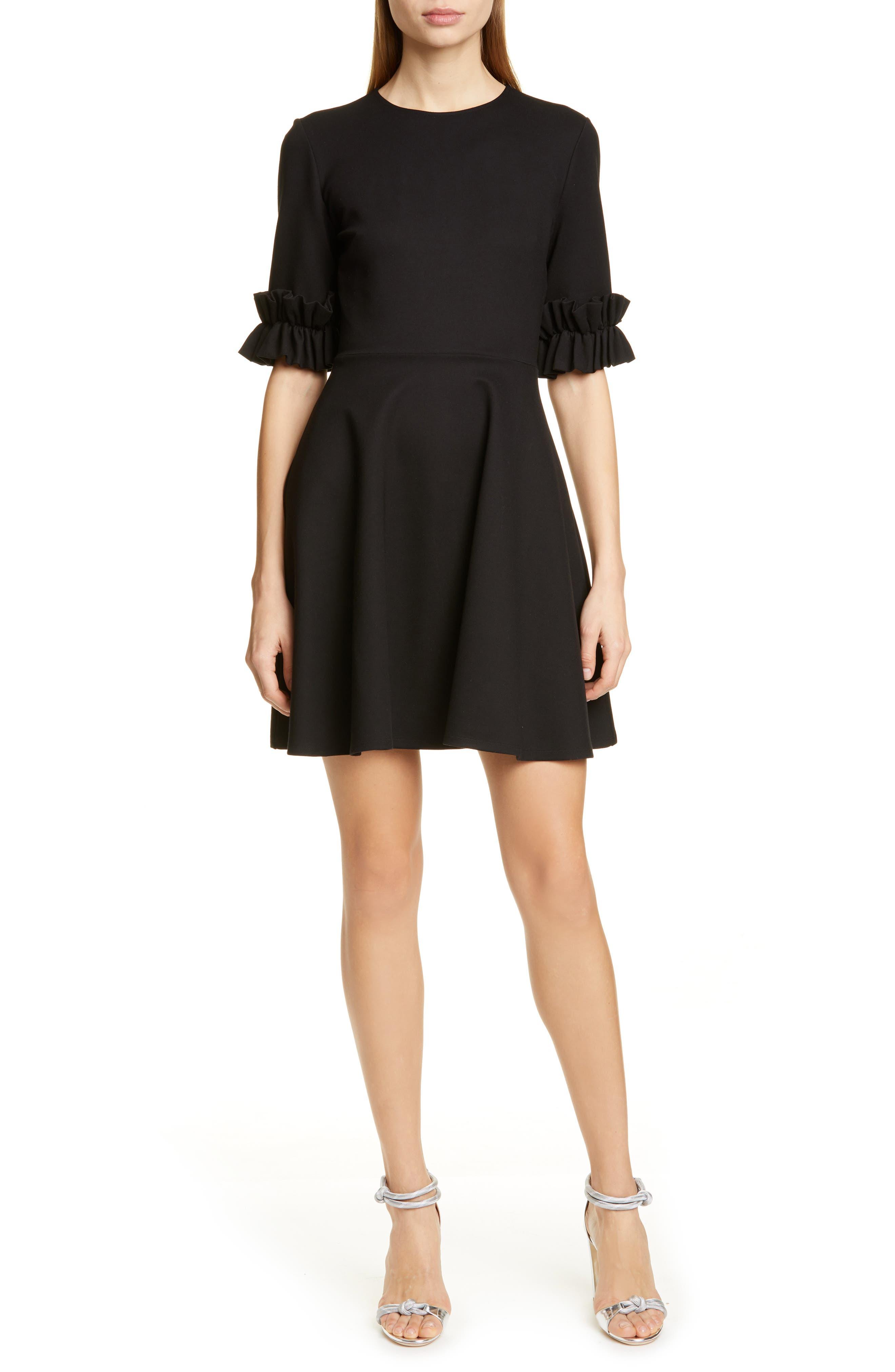 Ted Baker London Ritzi Ruffle Sleeve Skater Dress, Black