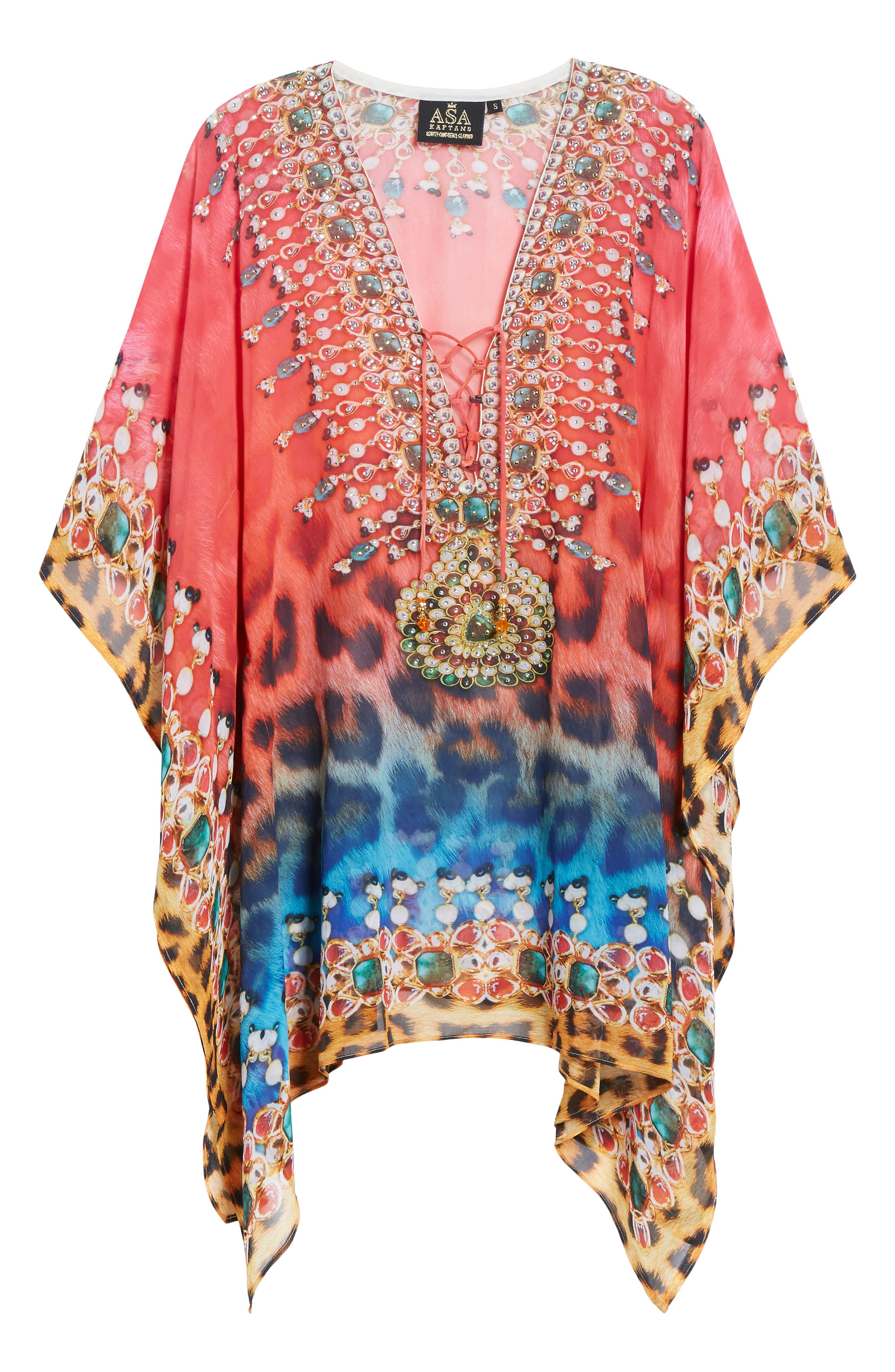 Positano Short Kaftan,                             Alternate thumbnail 6, color,                             RED/BLUE MULTI