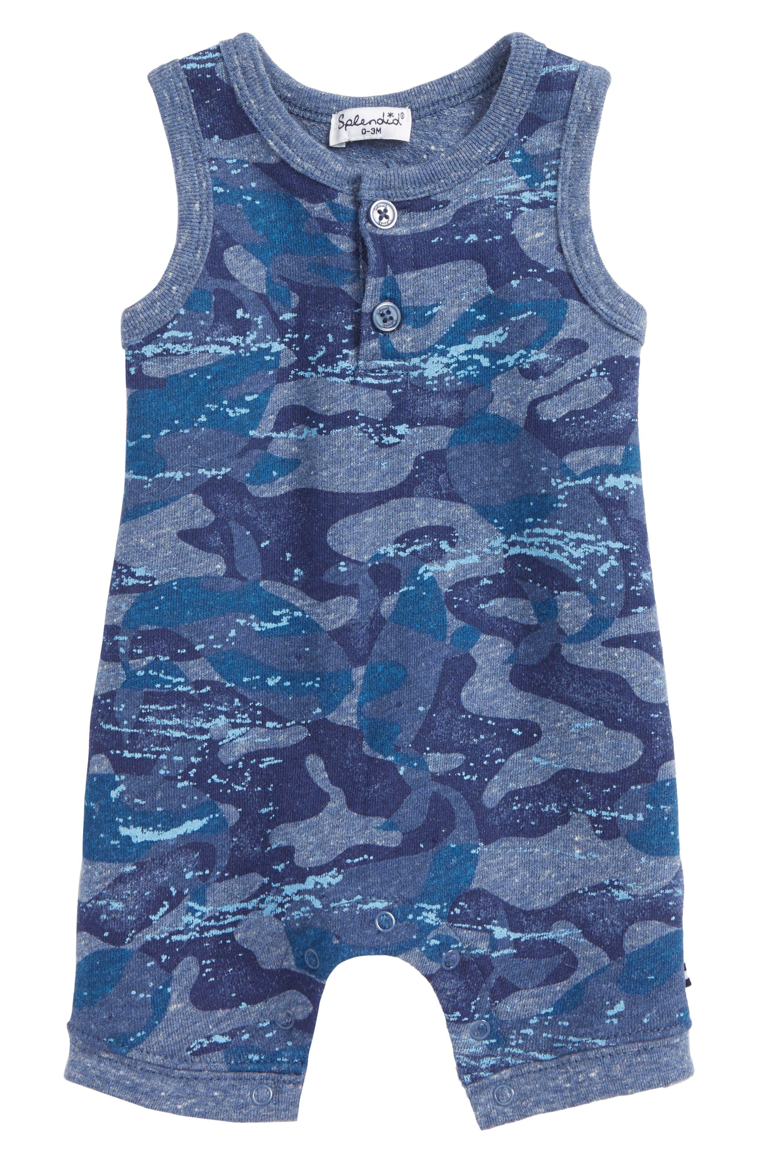 Whale Camo Romper,                         Main,                         color, 420