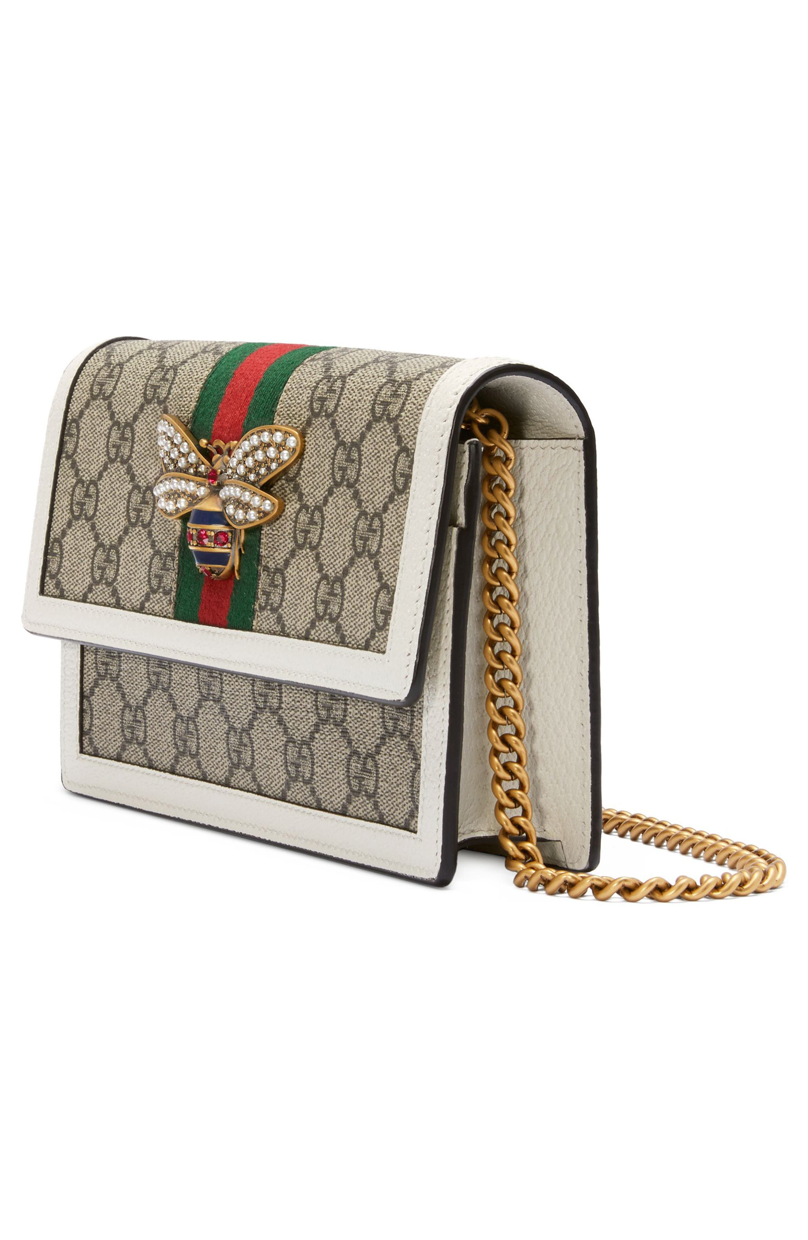 Queen Margaret GG Supreme Canvas Wallet on a Chain,                             Alternate thumbnail 4, color,                             250