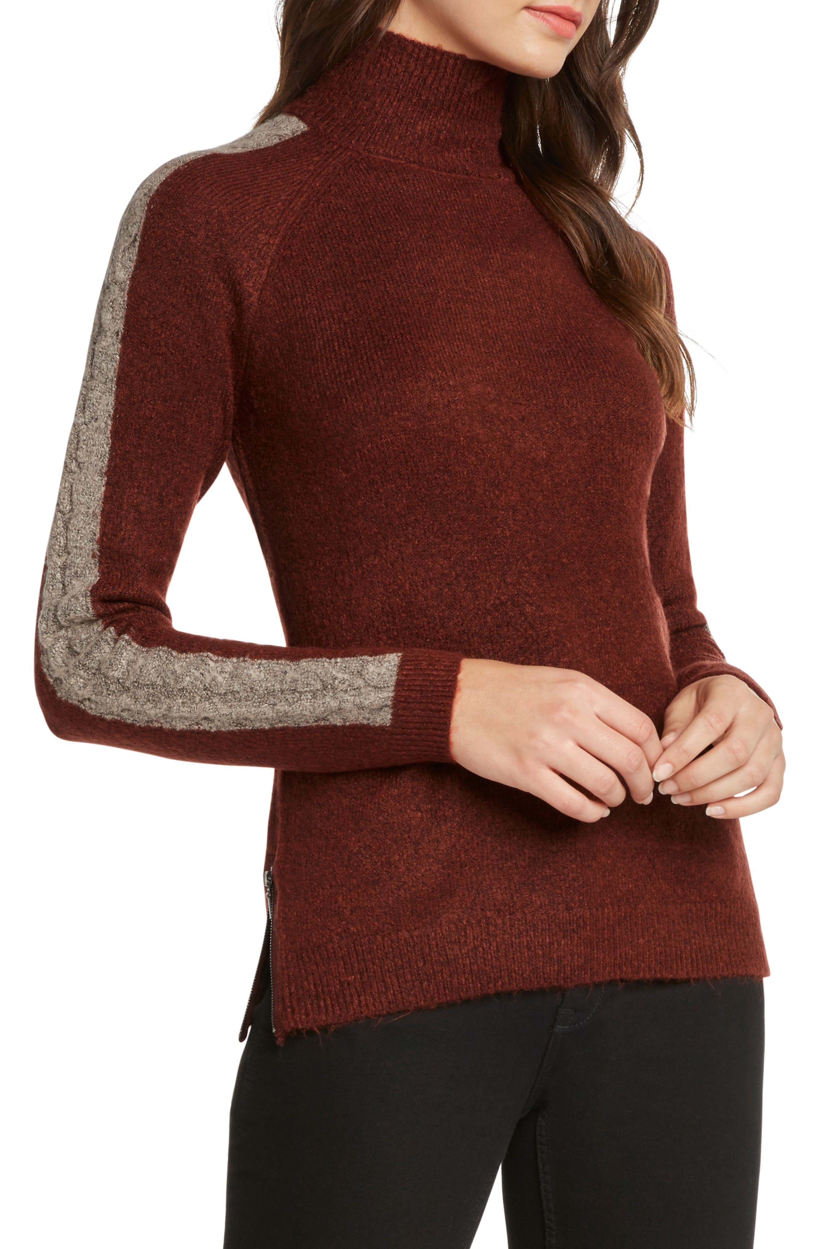 WILLOW & CLAY Cable Detail Turtleneck Sweater in Rust