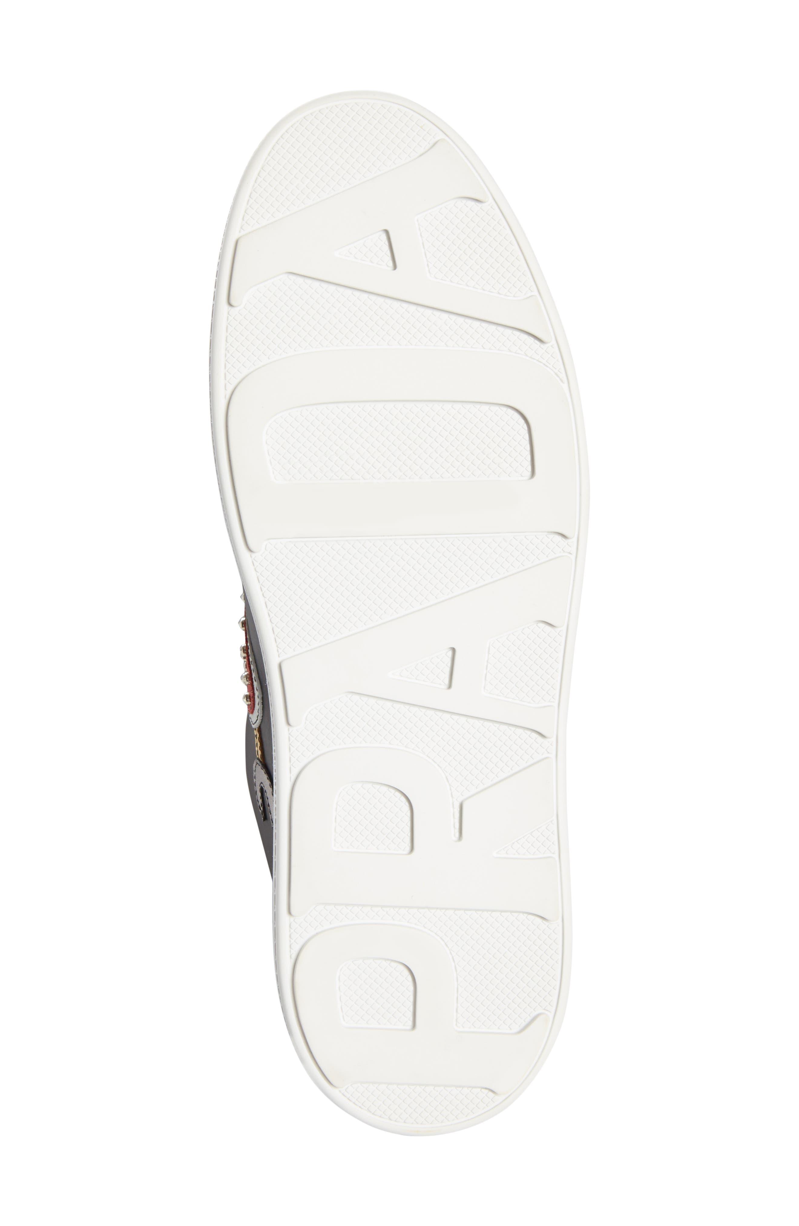 Embellished Platform Sneaker,                             Alternate thumbnail 5, color,                             BLACK/ WHITE