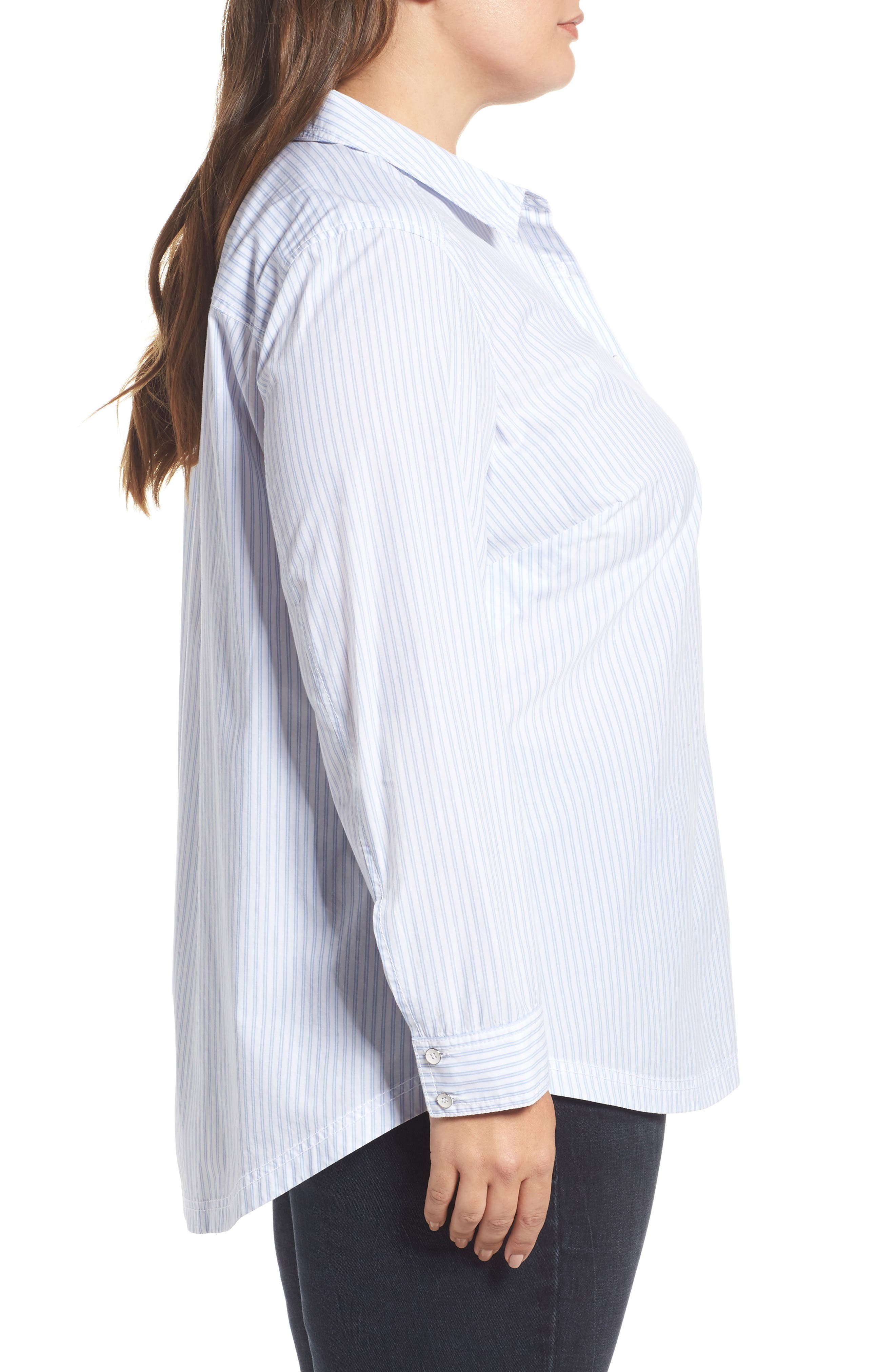 Stripe Button Front Shirt,                             Alternate thumbnail 3, color,                             420