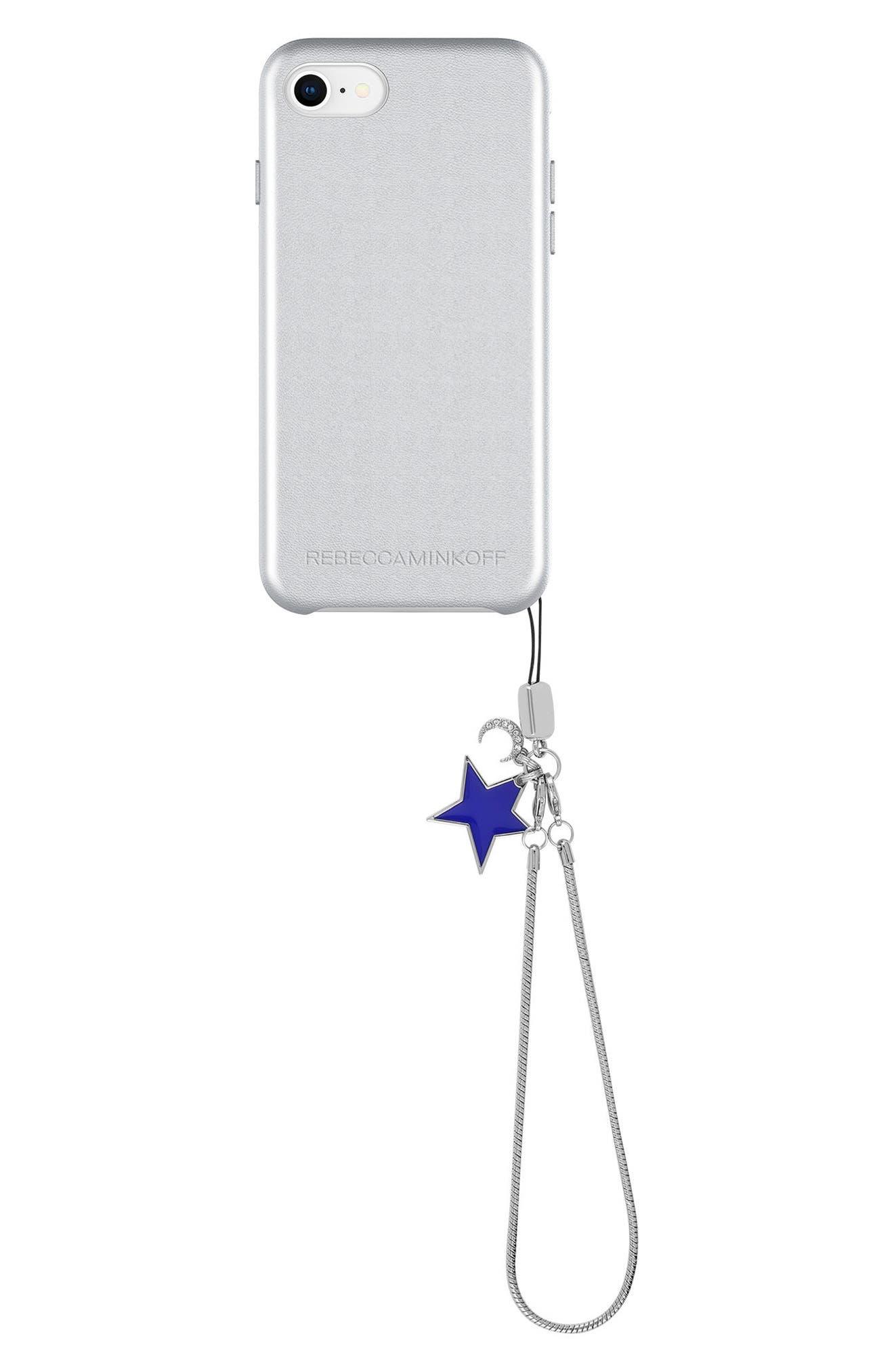 Leather iPhone 7/8 & 7/8 Plus Case,                             Main thumbnail 1, color,                             METALLIC SILVER