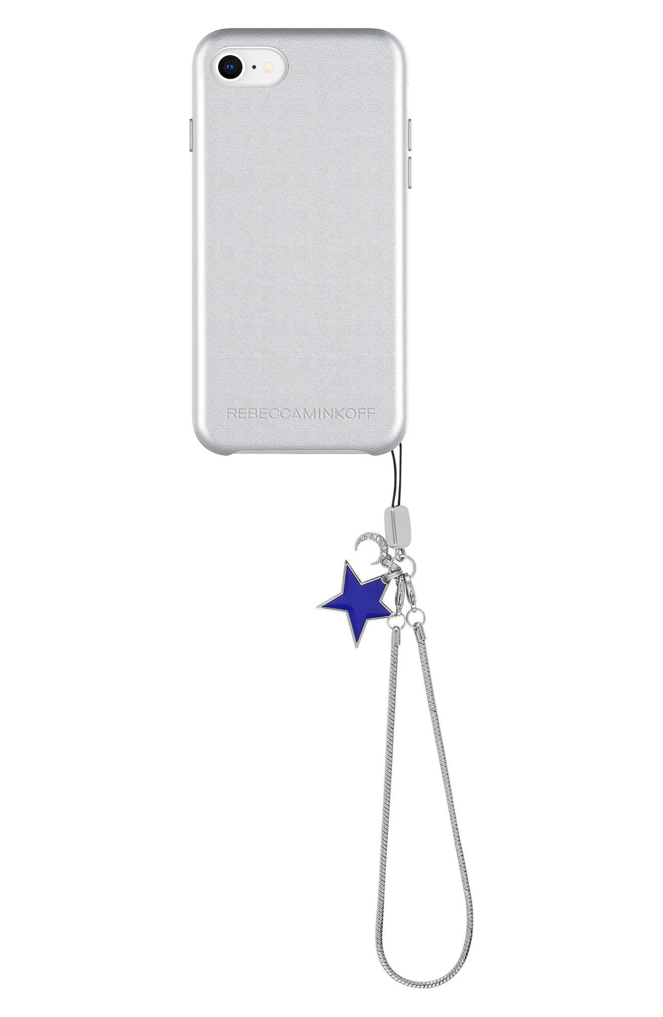 Leather iPhone 7/8 & 7/8 Plus Case,                         Main,                         color, METALLIC SILVER