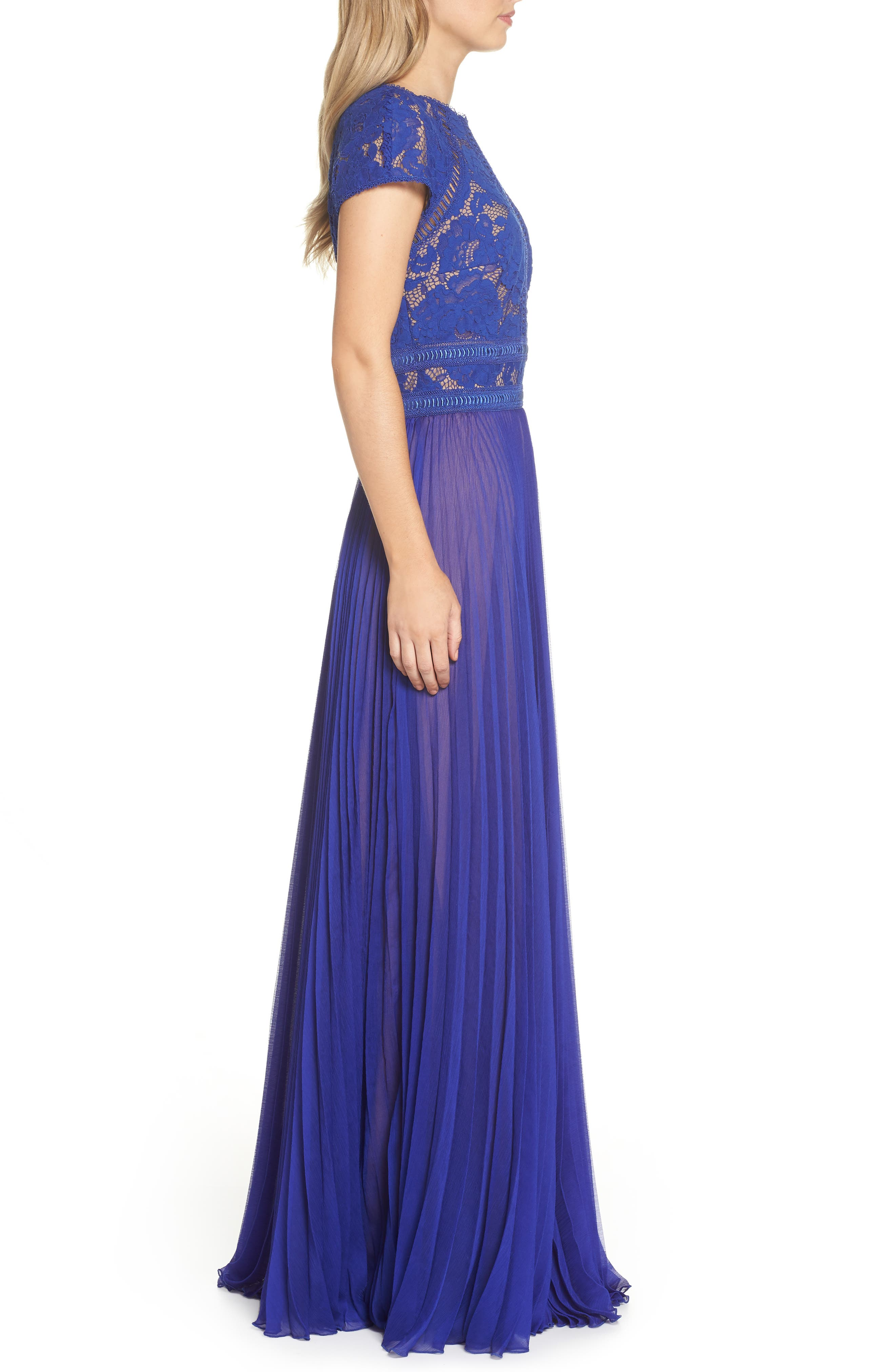 Lace & Chiffon A-Line Gown,                             Alternate thumbnail 3, color,                             490