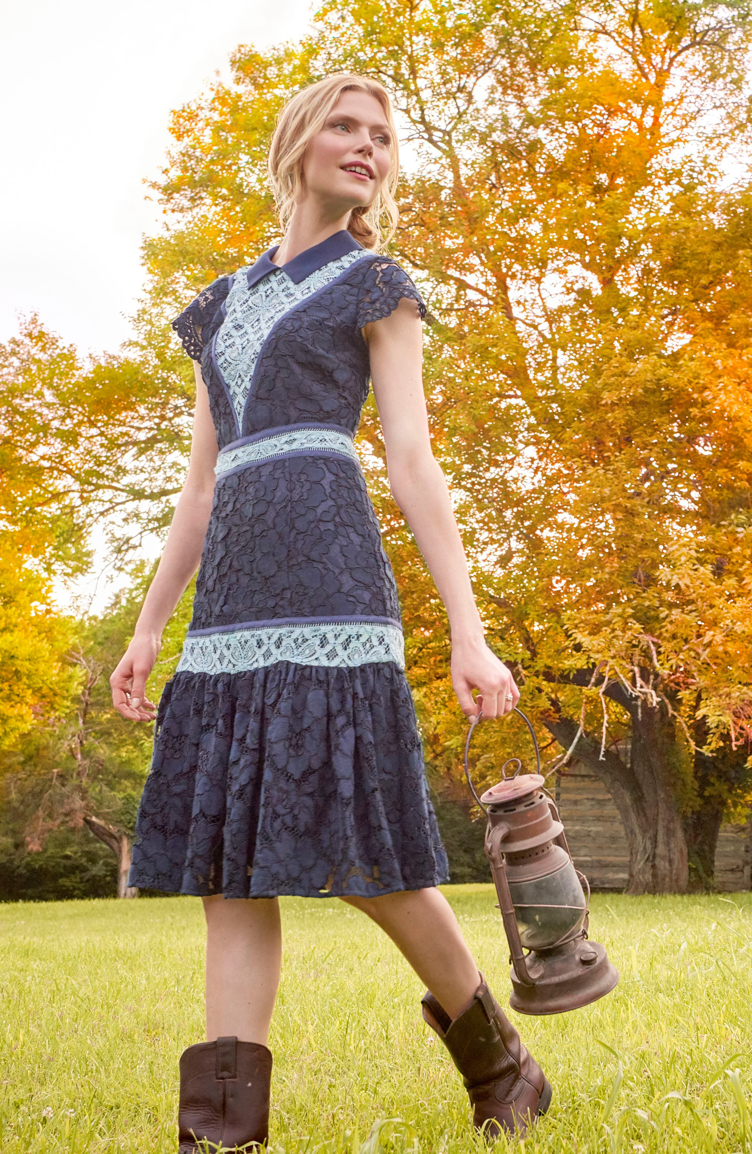 Collared Lace Collection A-Line Dress,                             Alternate thumbnail 7, color,                             432