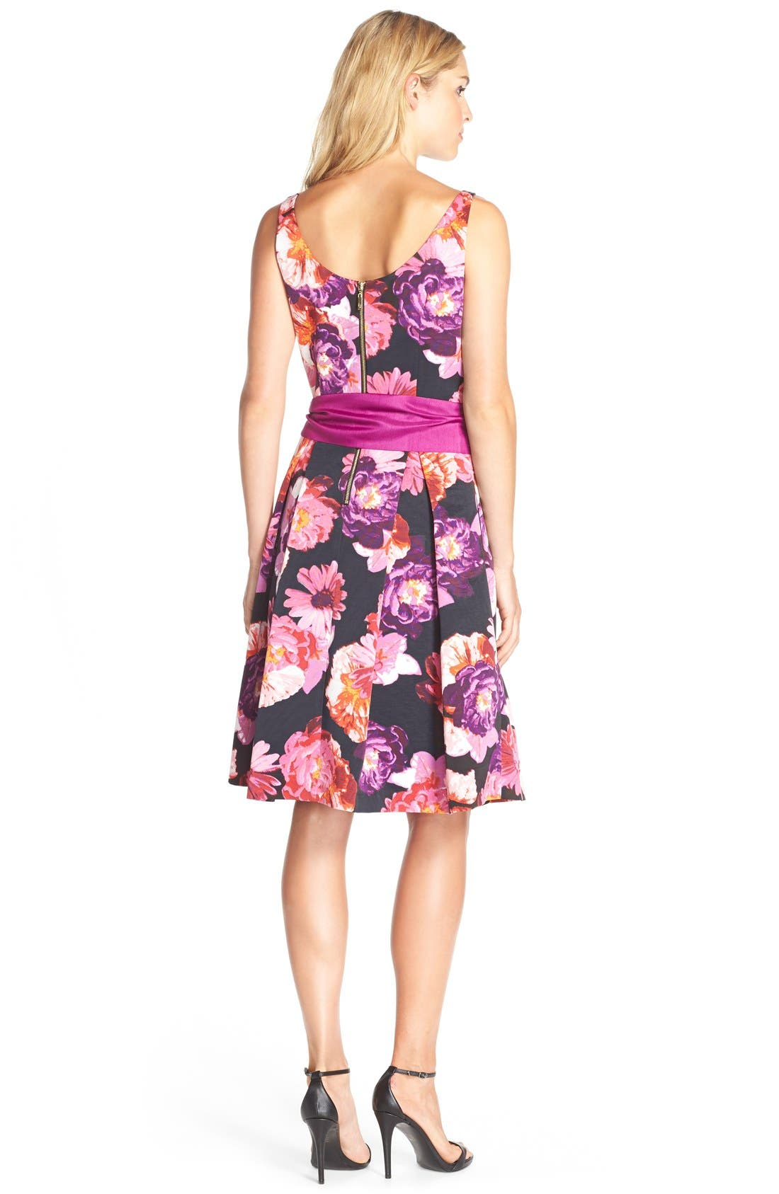 ELIZA J,                             Floral Print Faille Fit& Flare Dress,                             Alternate thumbnail 2, color,                             660