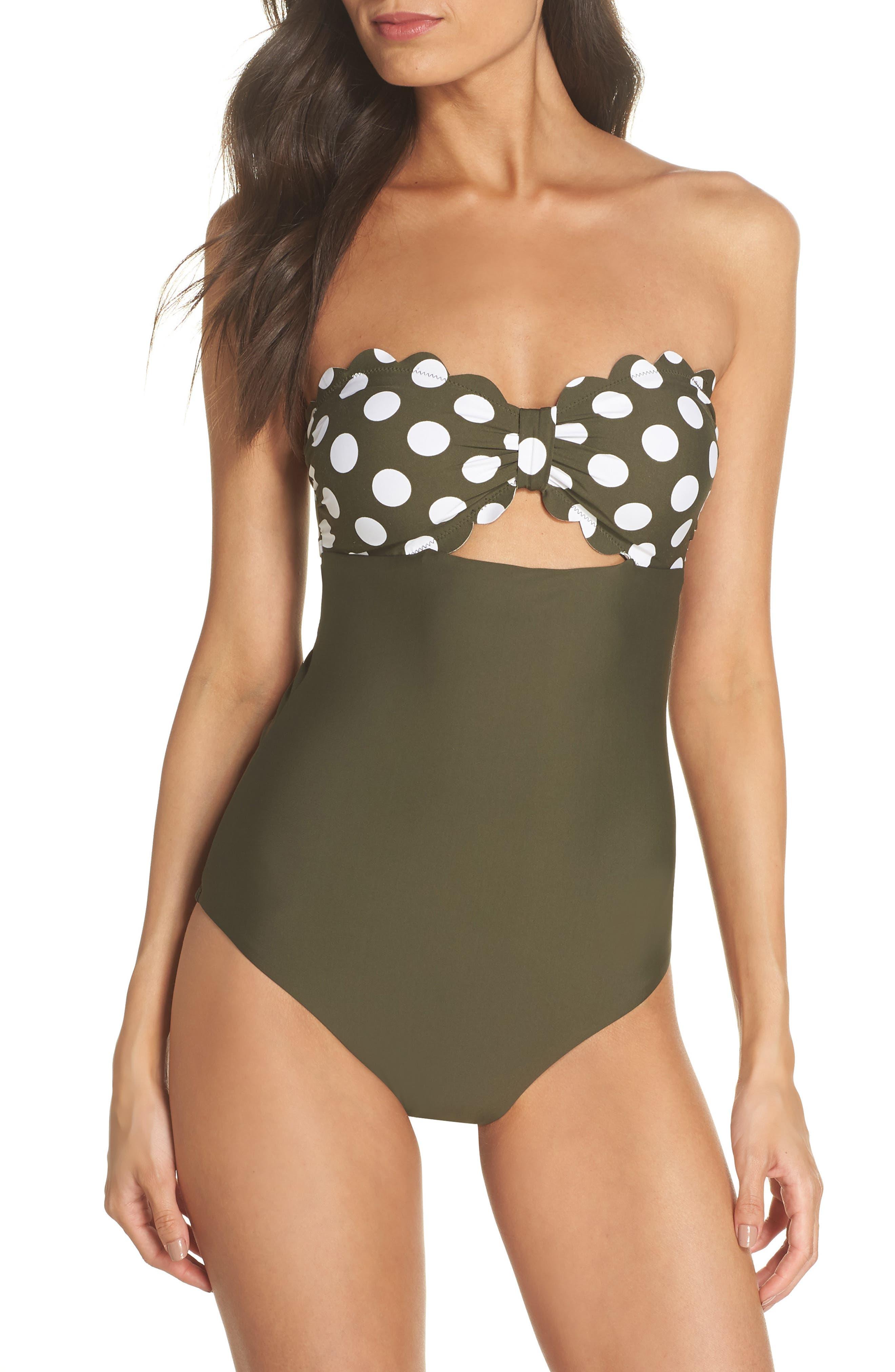 Scallop Bandeau One-Piece Swimsuit,                             Main thumbnail 1, color,                             OLIVE SARMA/ IVORY EGRET DOT