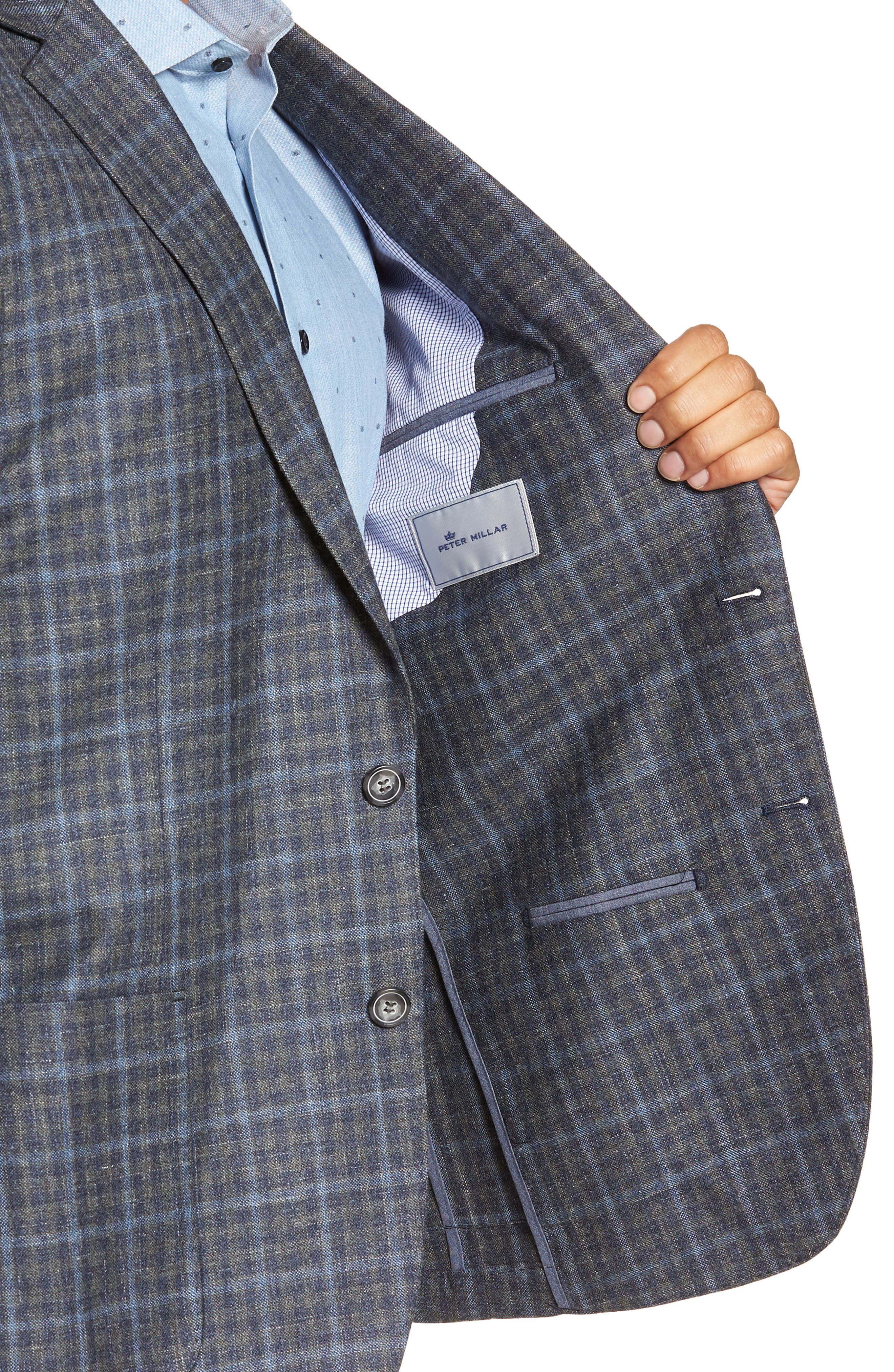 Crown Wool & Silk Blend Plaid Sport Coat,                             Alternate thumbnail 3, color,                             GREY