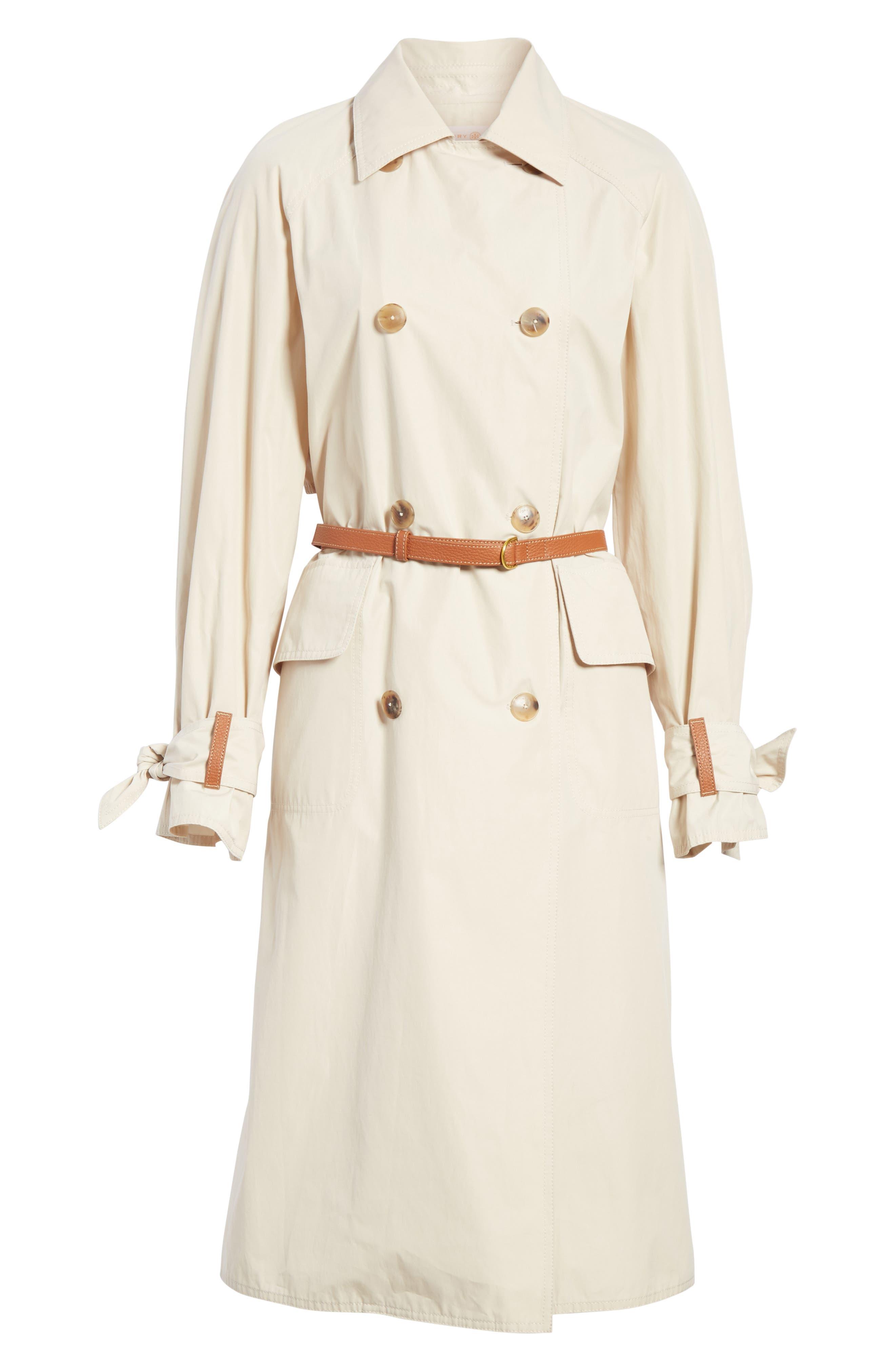 Marielle Leather Trim Trench Coat,                             Alternate thumbnail 5, color,                             053