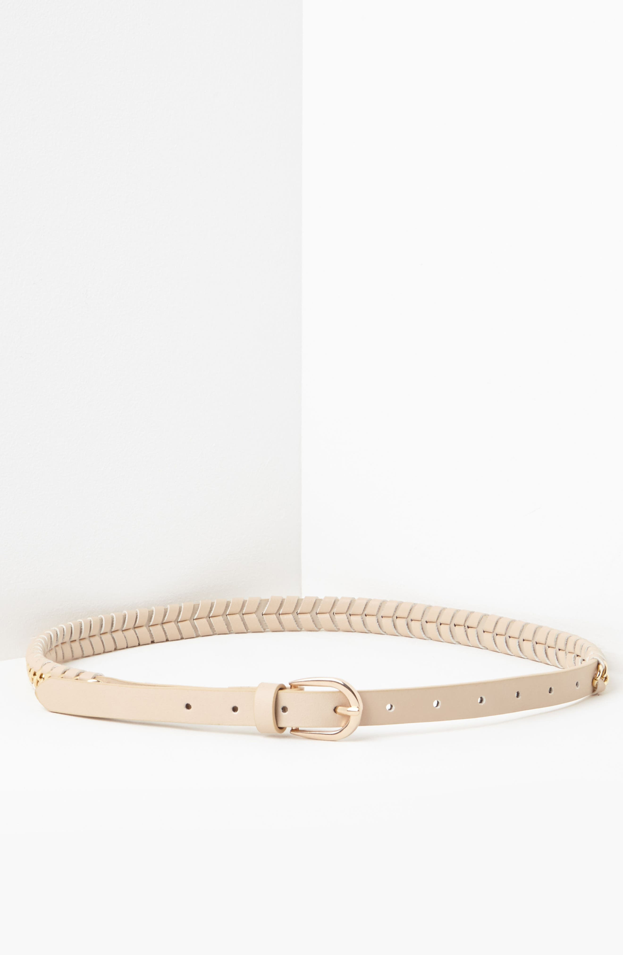 Woven Faux Leather & Chain Belt,                             Alternate thumbnail 3, color,                             250