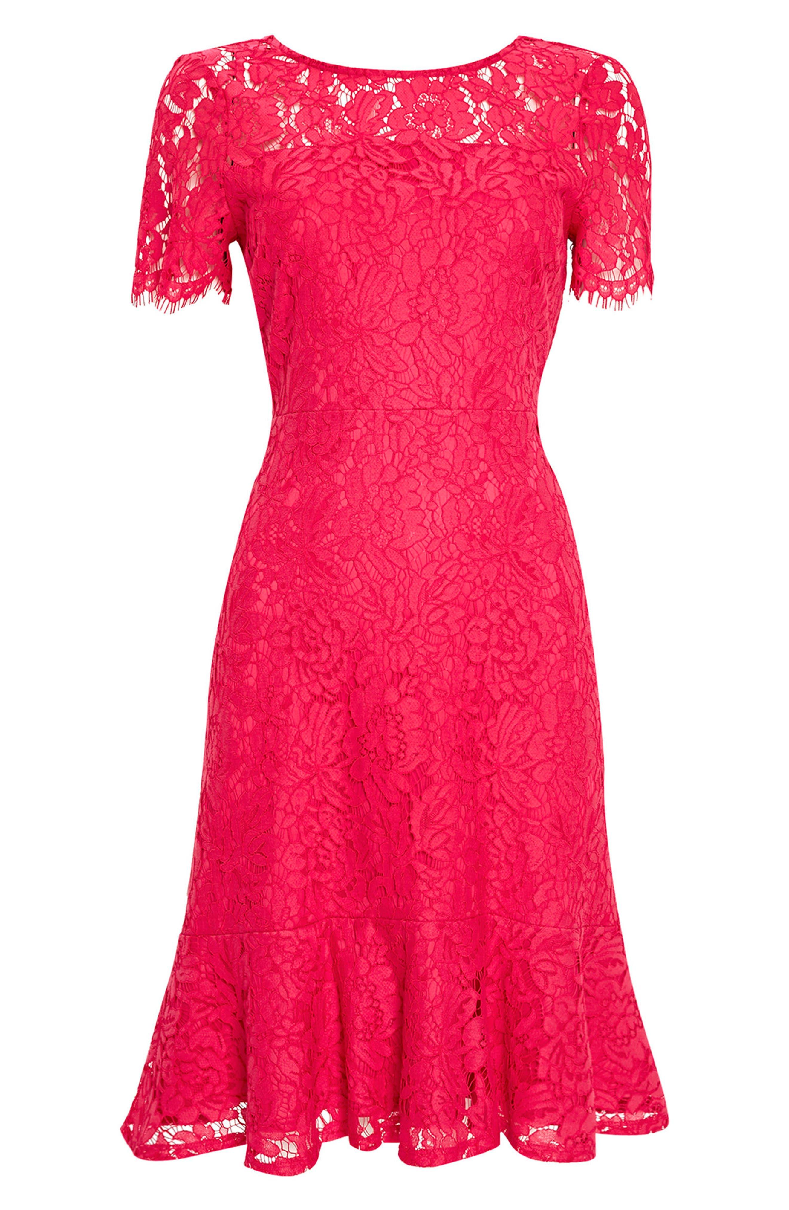Lace Peplum Hem Dress,                             Alternate thumbnail 4, color,                             650