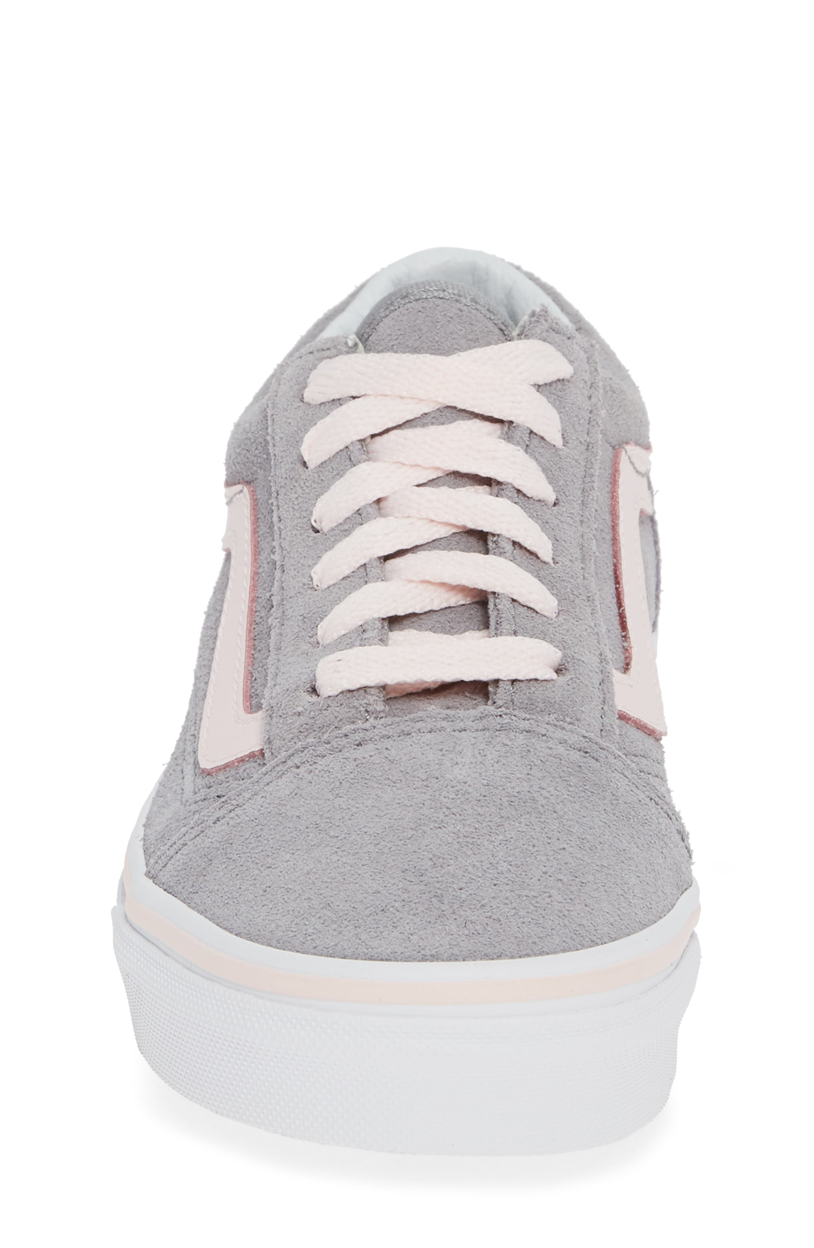 Old Skool Sneaker,                             Alternate thumbnail 4, color,                             SUEDE ALLOY/ PINK/ TRUE WHITE