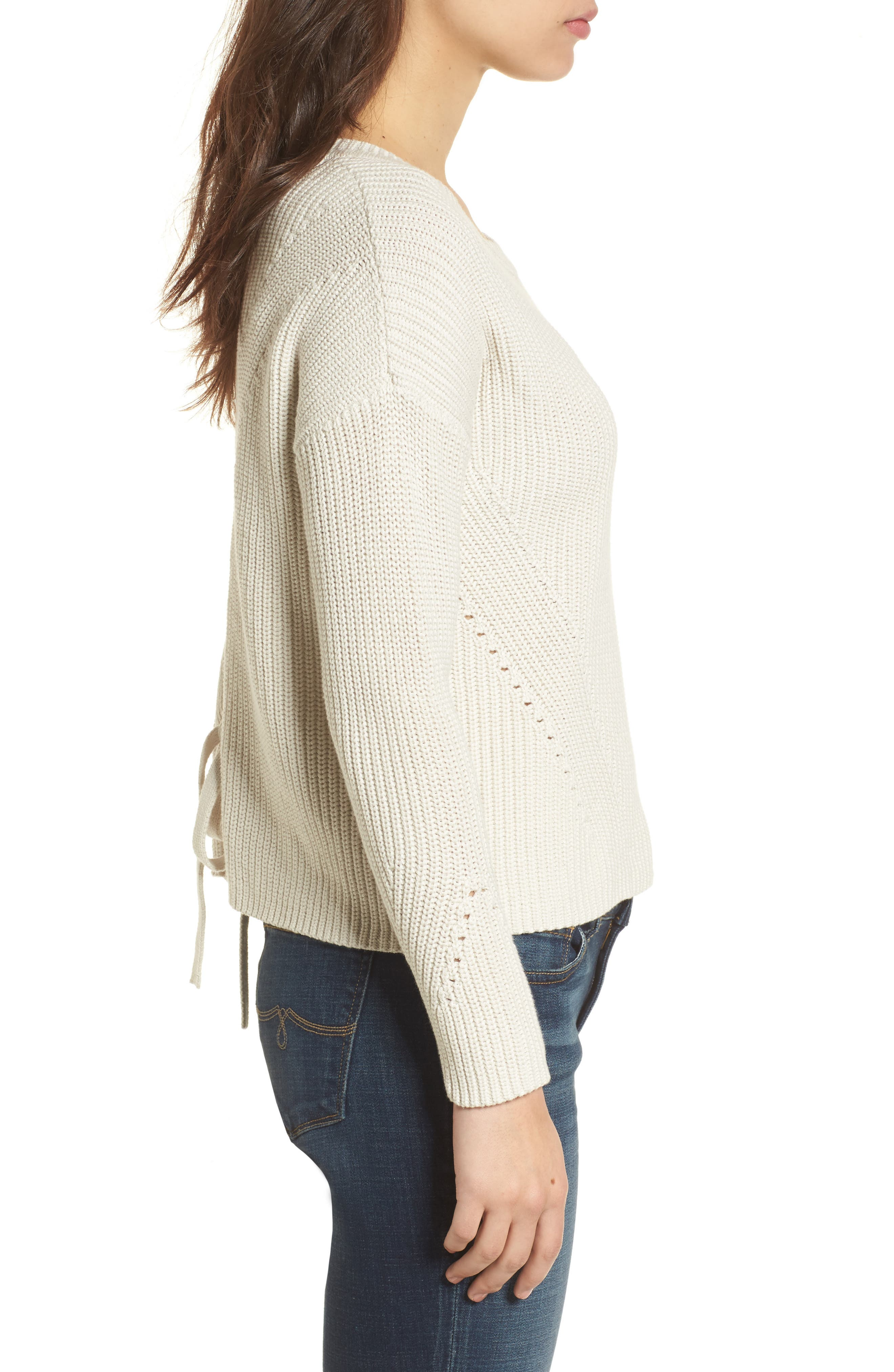 Lace-Up Back Sweater,                             Alternate thumbnail 3, color,                             250