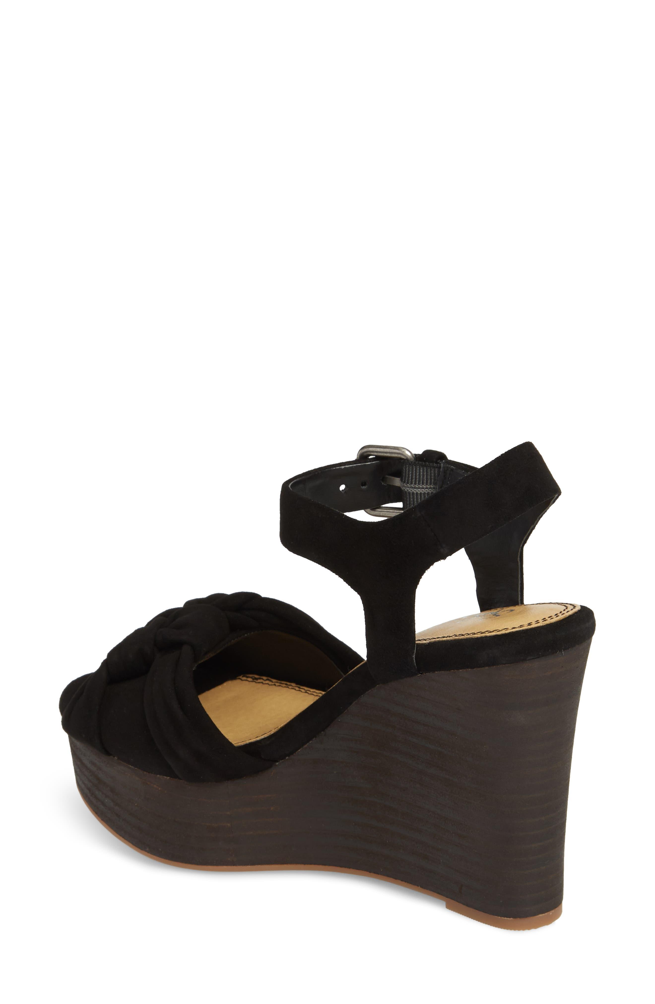 Nada Platform Wedge Sandal,                             Alternate thumbnail 2, color,                             BLACK SUEDE