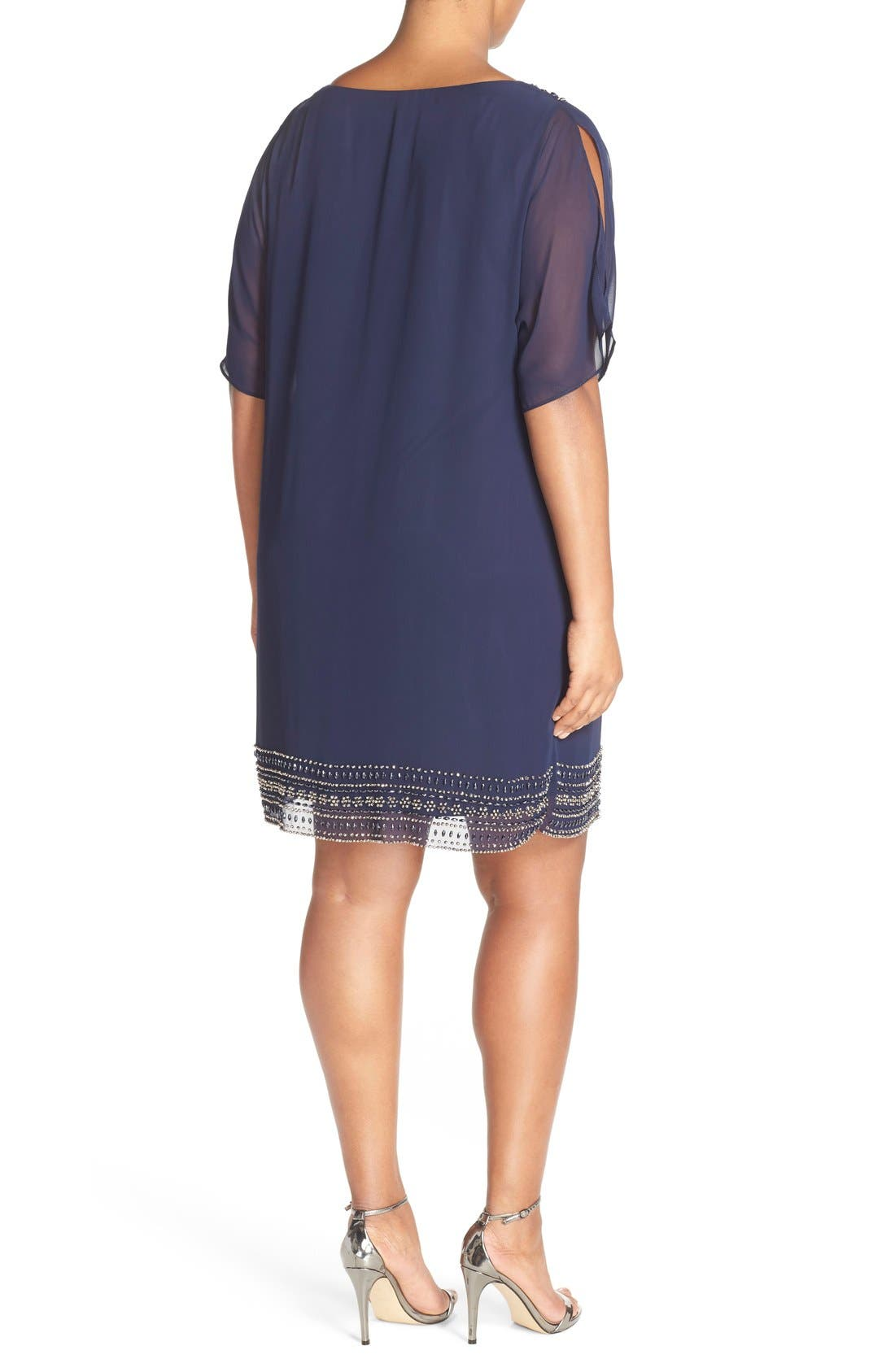 Embellished Split Sleeve Chiffon Shift Dress,                             Alternate thumbnail 3, color,