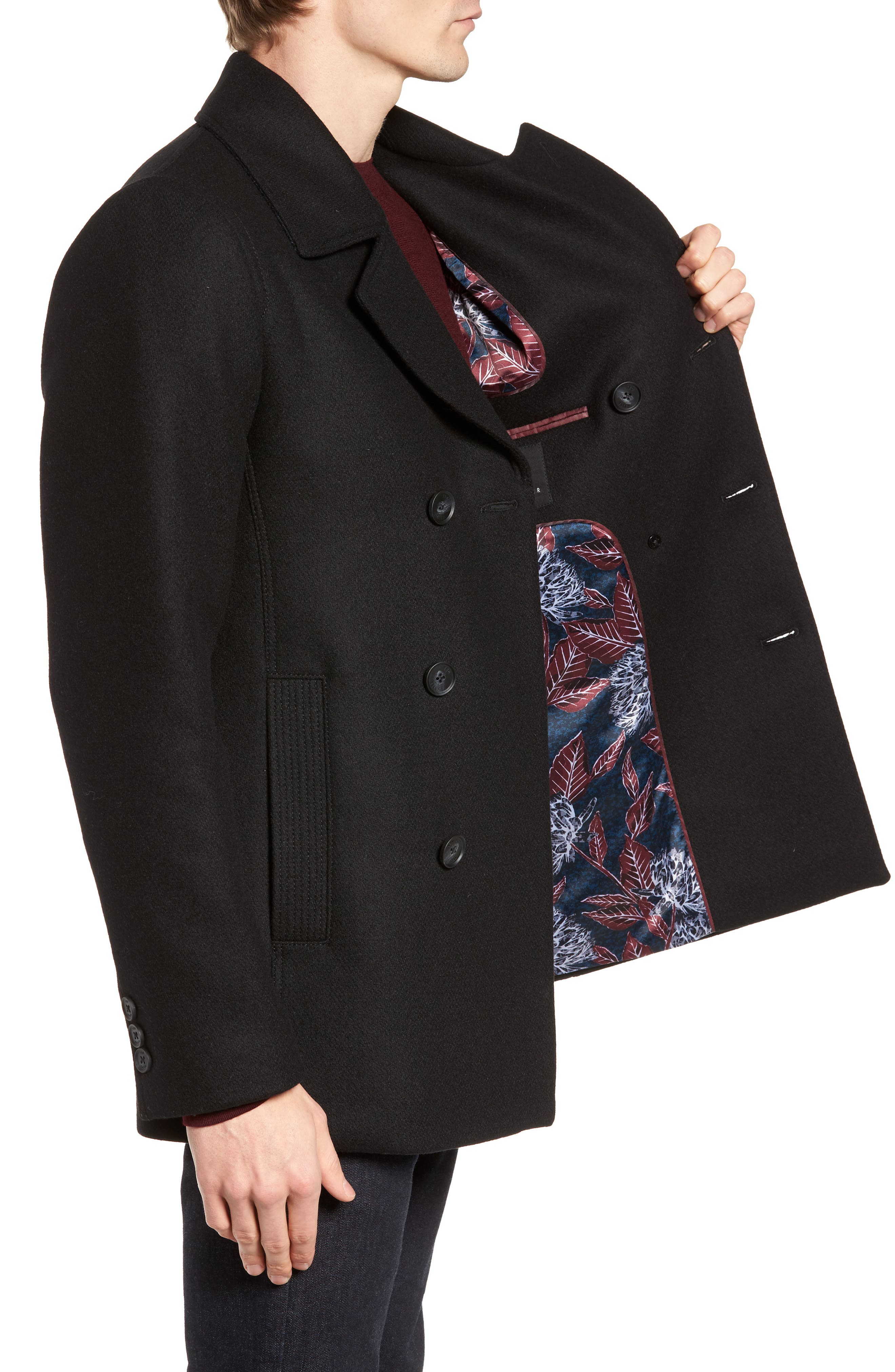 Zachary Trim Fit Double Breasted Peacoat,                             Alternate thumbnail 3, color,                             001