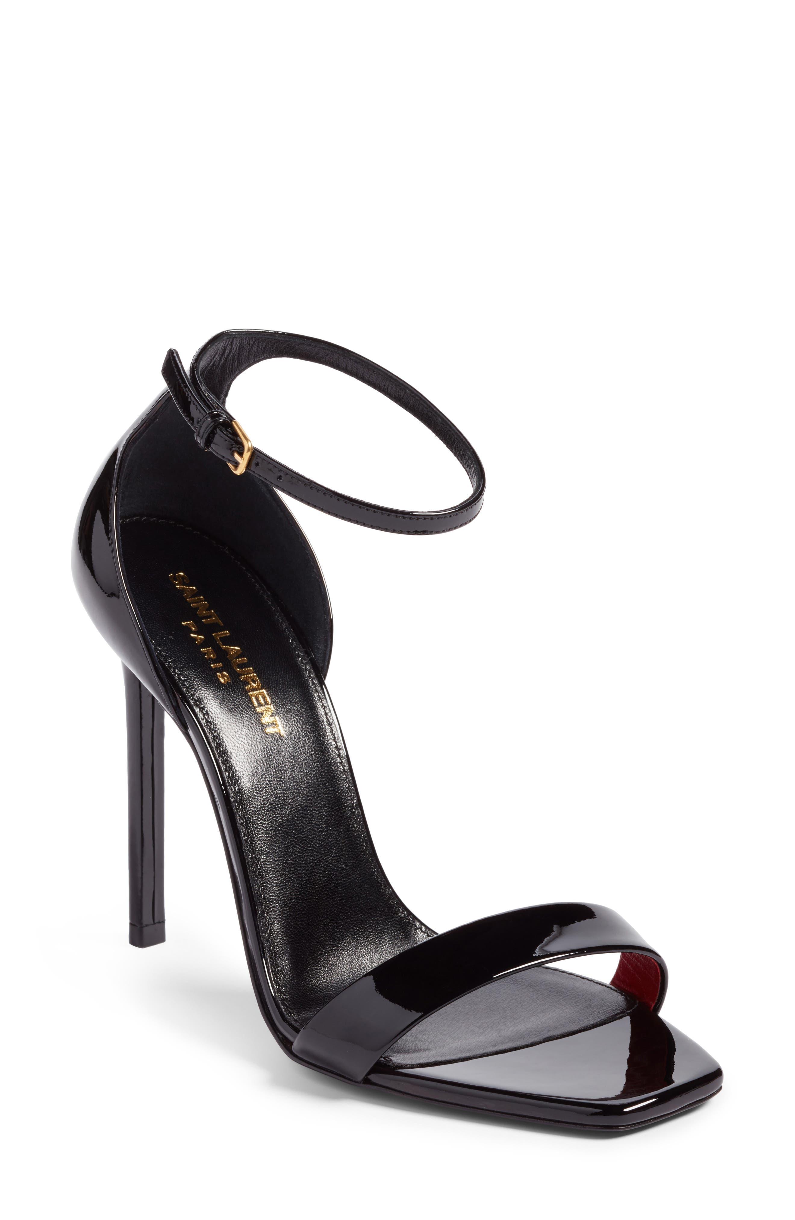 Amber Ankle Strap Sandal,                             Main thumbnail 1, color,                             BLACK