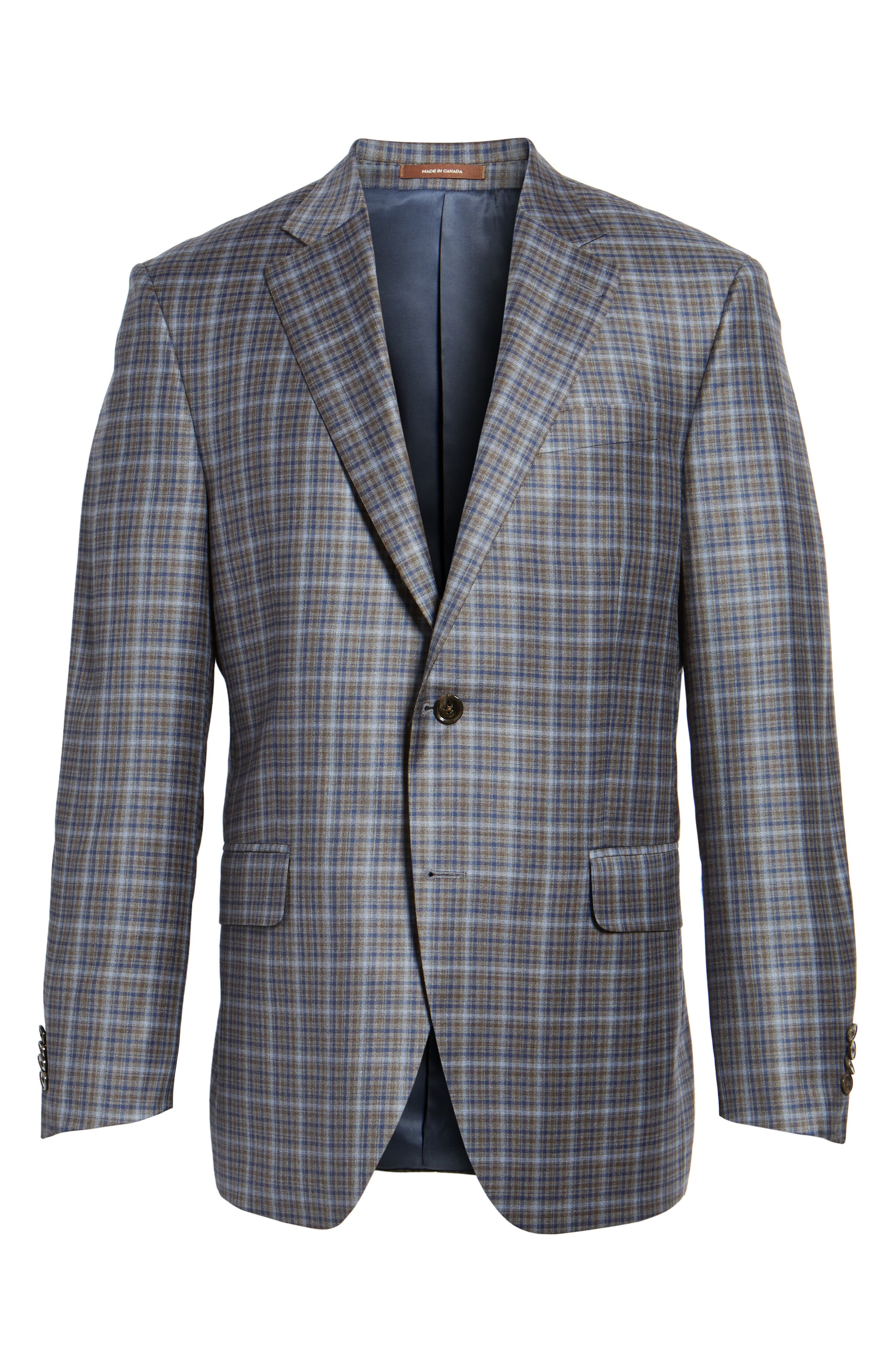 Classic Fit Check Wool Sport Coat,                             Alternate thumbnail 5, color,                             210