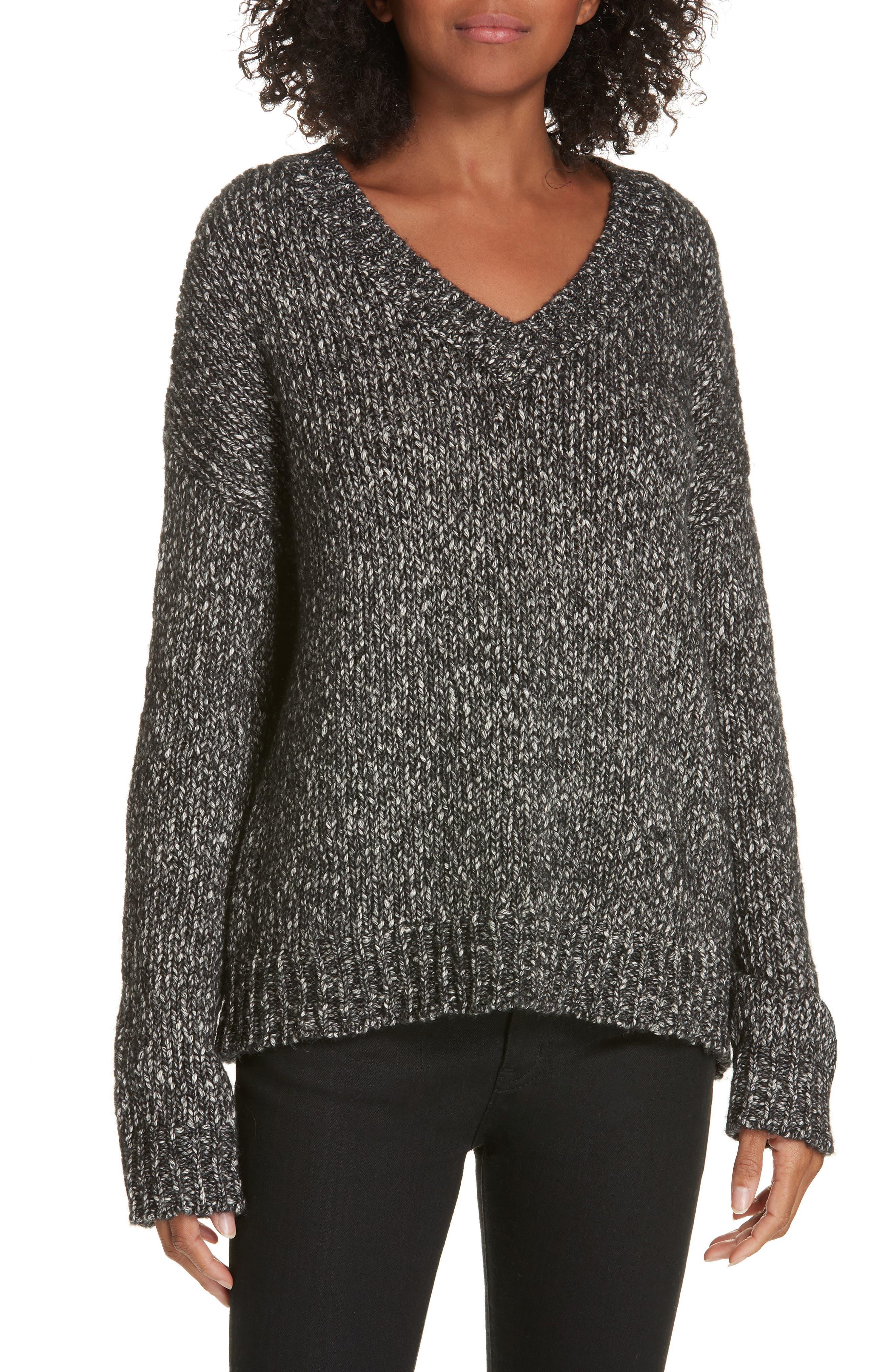 Parkland Slouchy Cotton & Wool Sweater,                             Main thumbnail 1, color,                             LEAD MELANGE