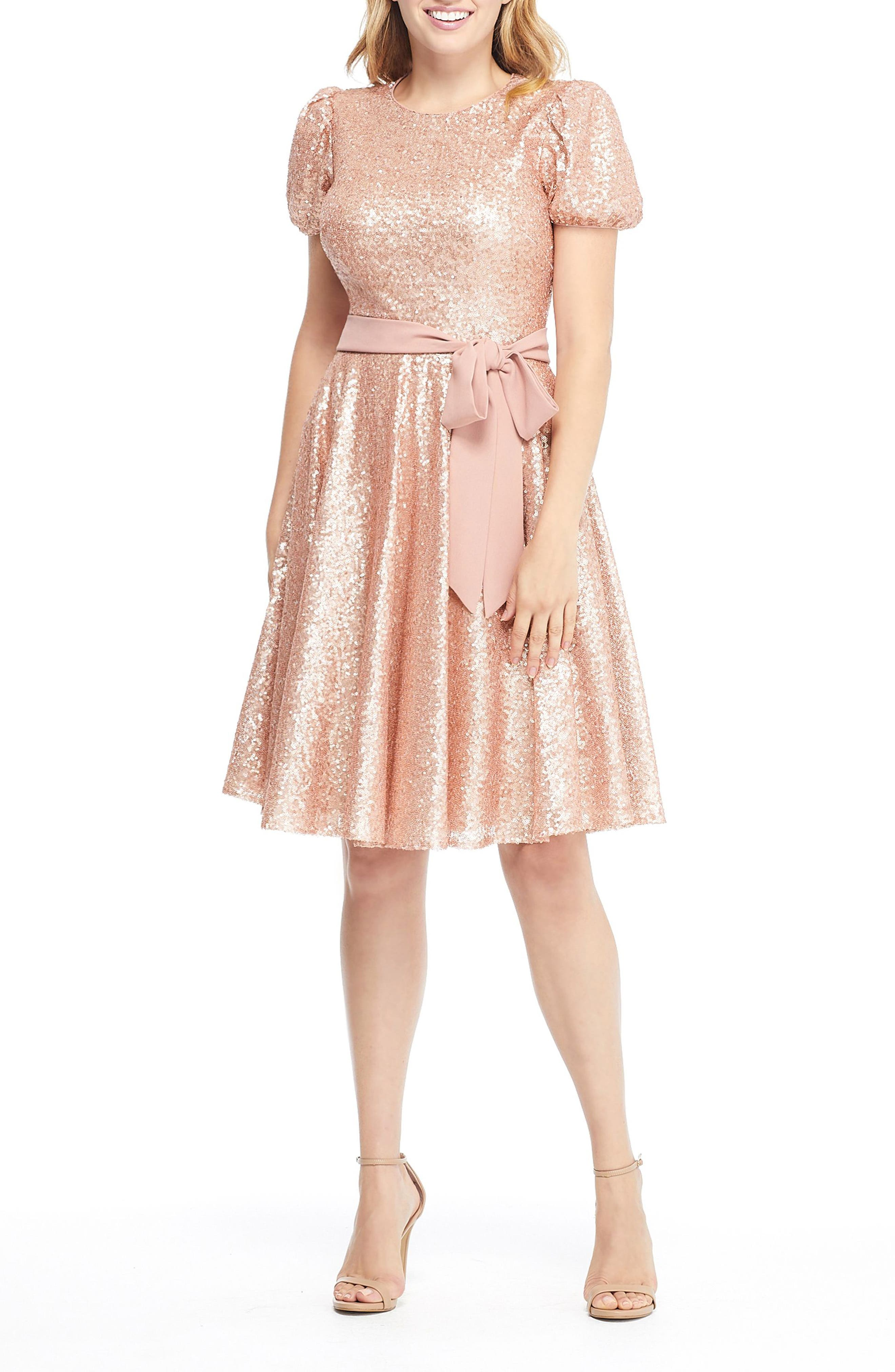 Gal Meets Glam Collection Beatrix Sequin Crush Fit & Flare Dress, Pink