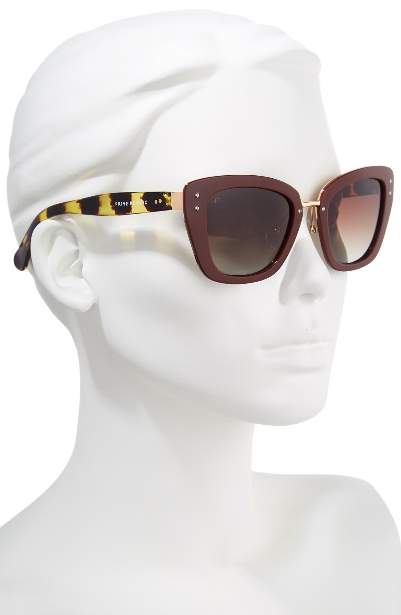 Privé Revaux The Grace 52mm Cat Eye Sunglasses,                             Alternate thumbnail 2, color,                             RED