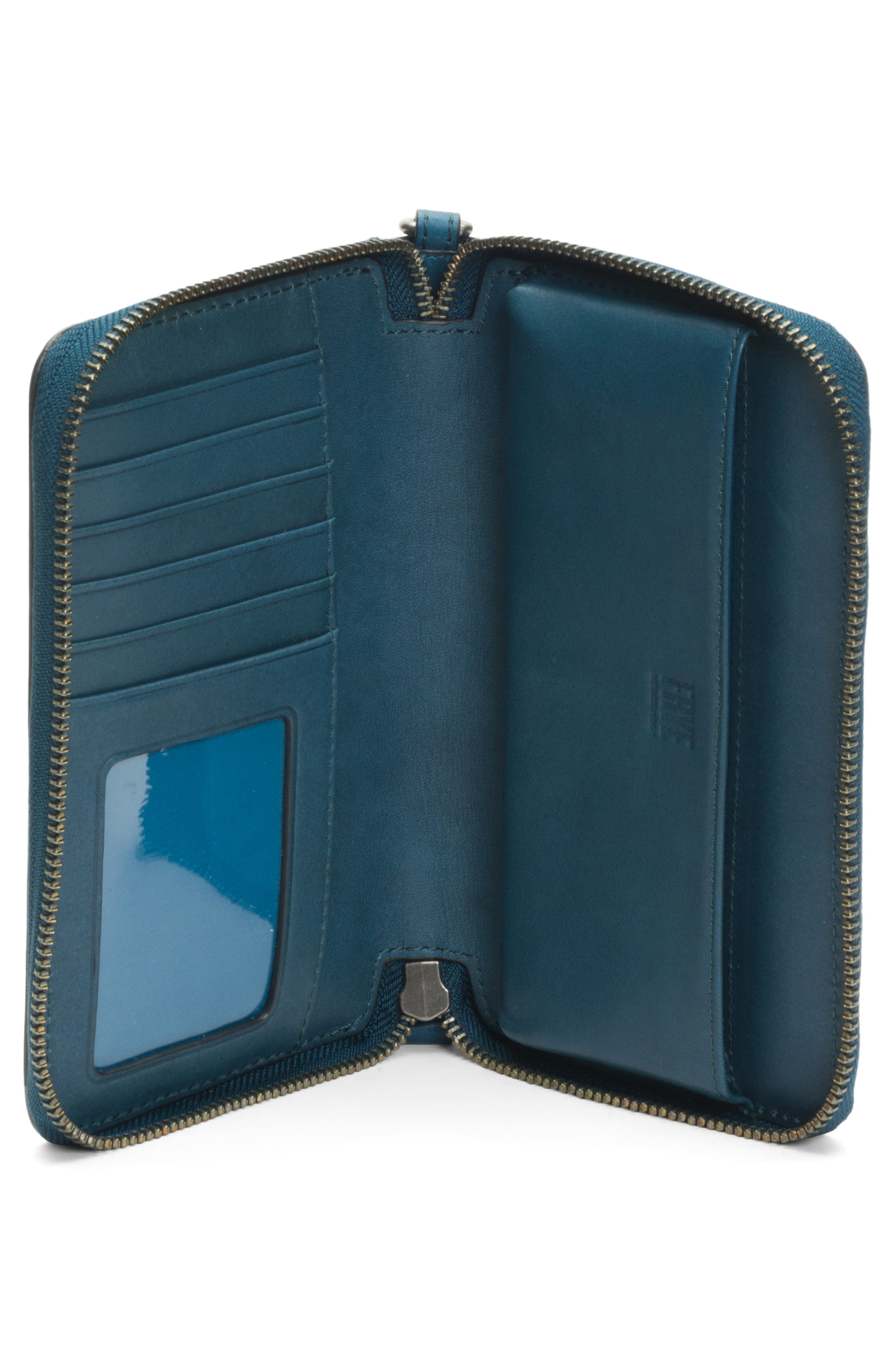 Melissa Large Leather Phone Wallet,                             Alternate thumbnail 4, color,                             PEACOCK