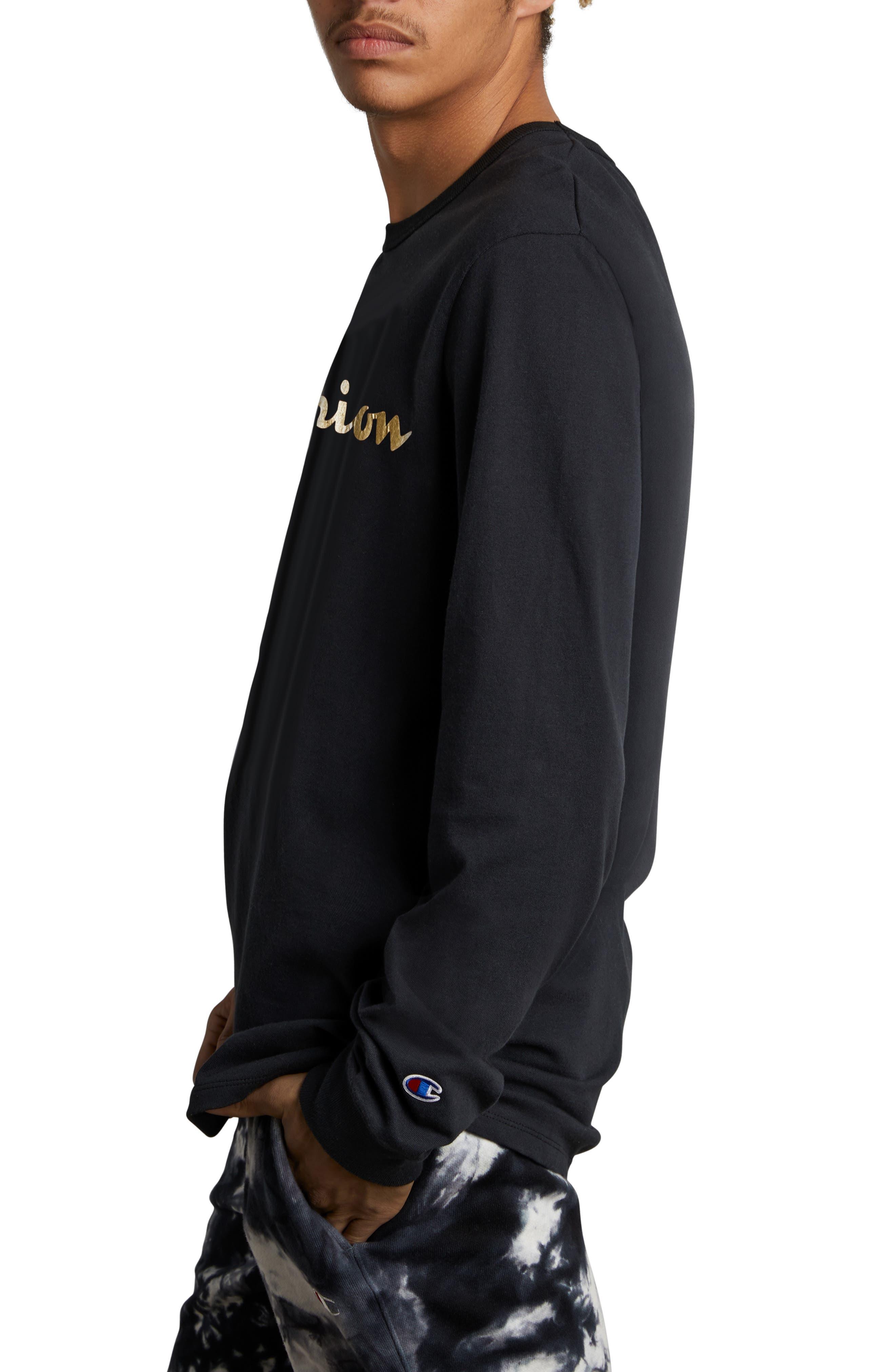 Gold Script Logo Long Sleeve T-Shirt,                             Alternate thumbnail 3, color,                             BLACK