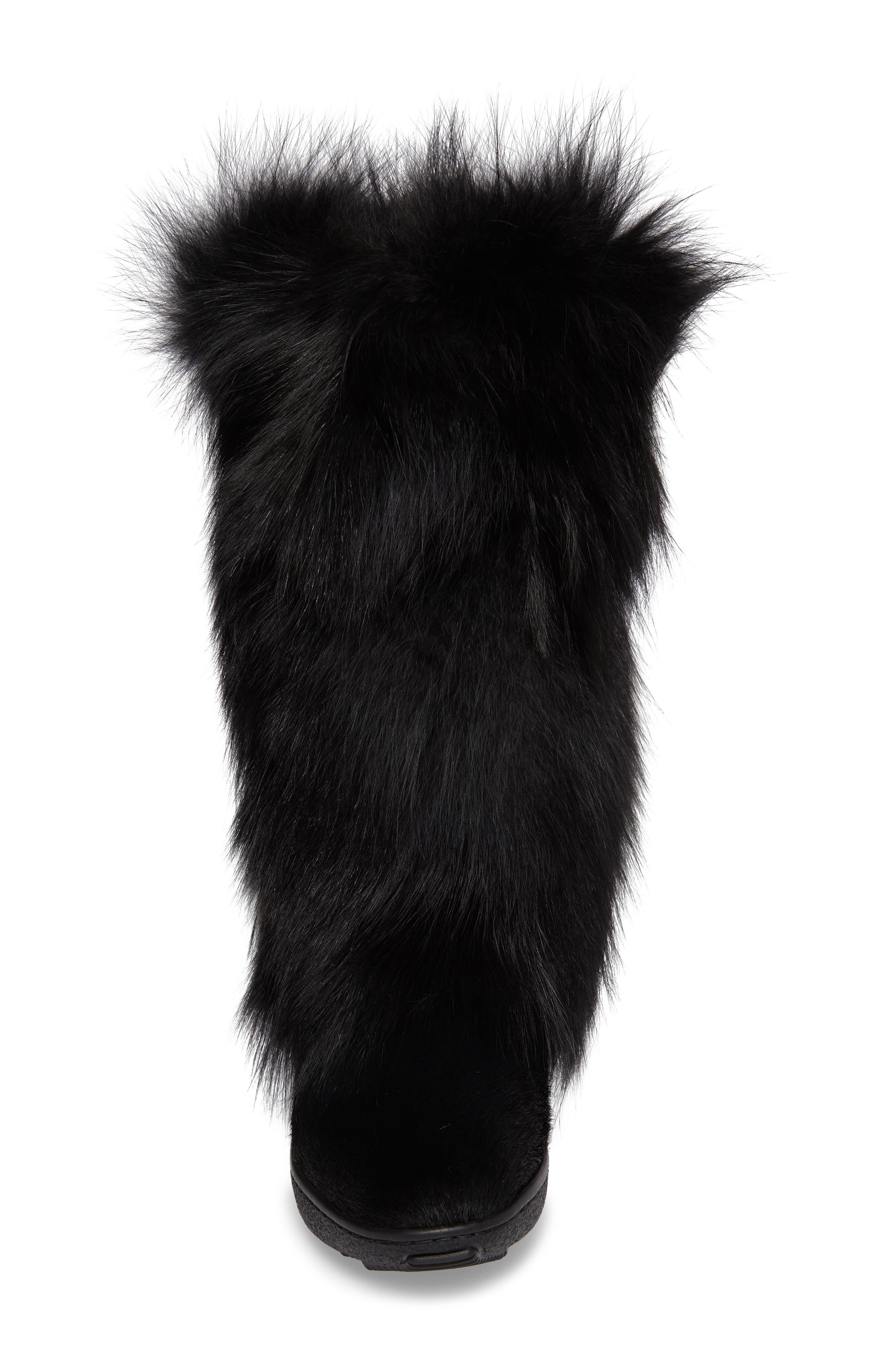 Kim Genuine Fox Fur Boot,                             Alternate thumbnail 4, color,                             001