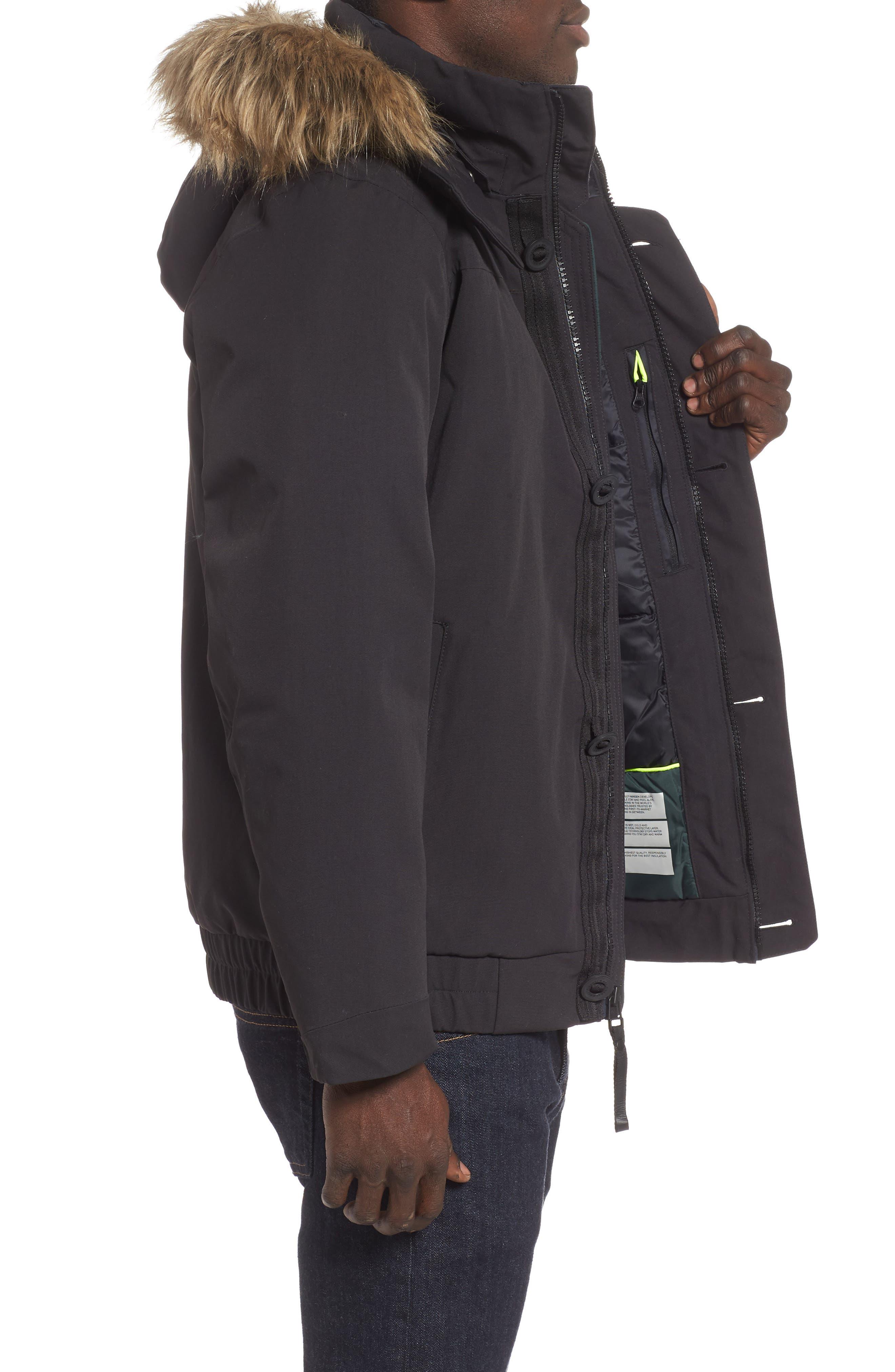 Bardu Waterproof Bomber Jacket with Detachable Hood and Faux Fur Trim,                             Alternate thumbnail 3, color,                             BLACK