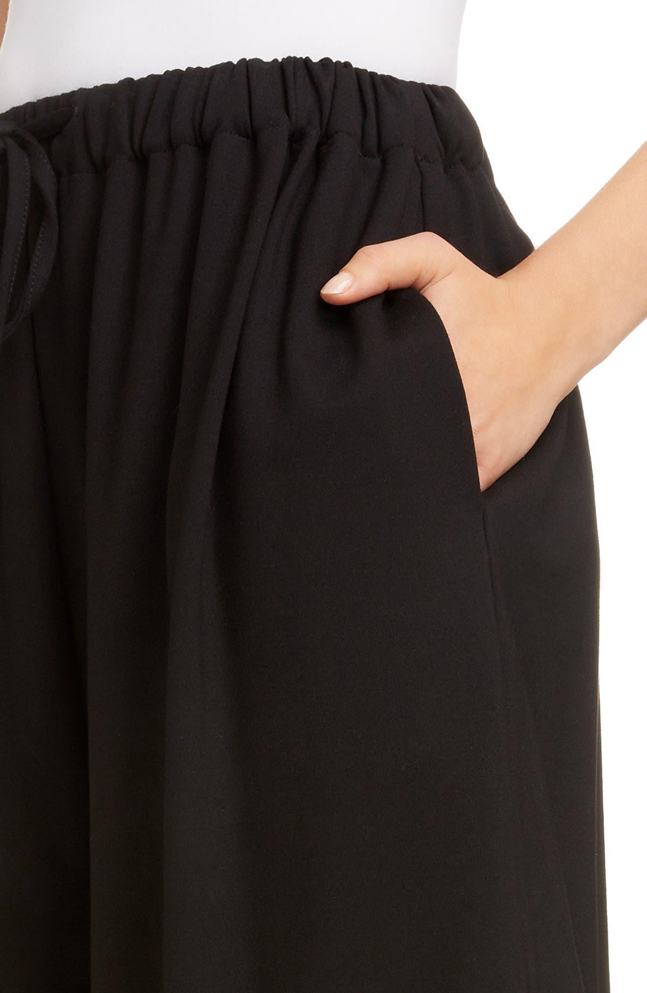 Lace Trim Culottes,                             Alternate thumbnail 4, color,                             BLACK