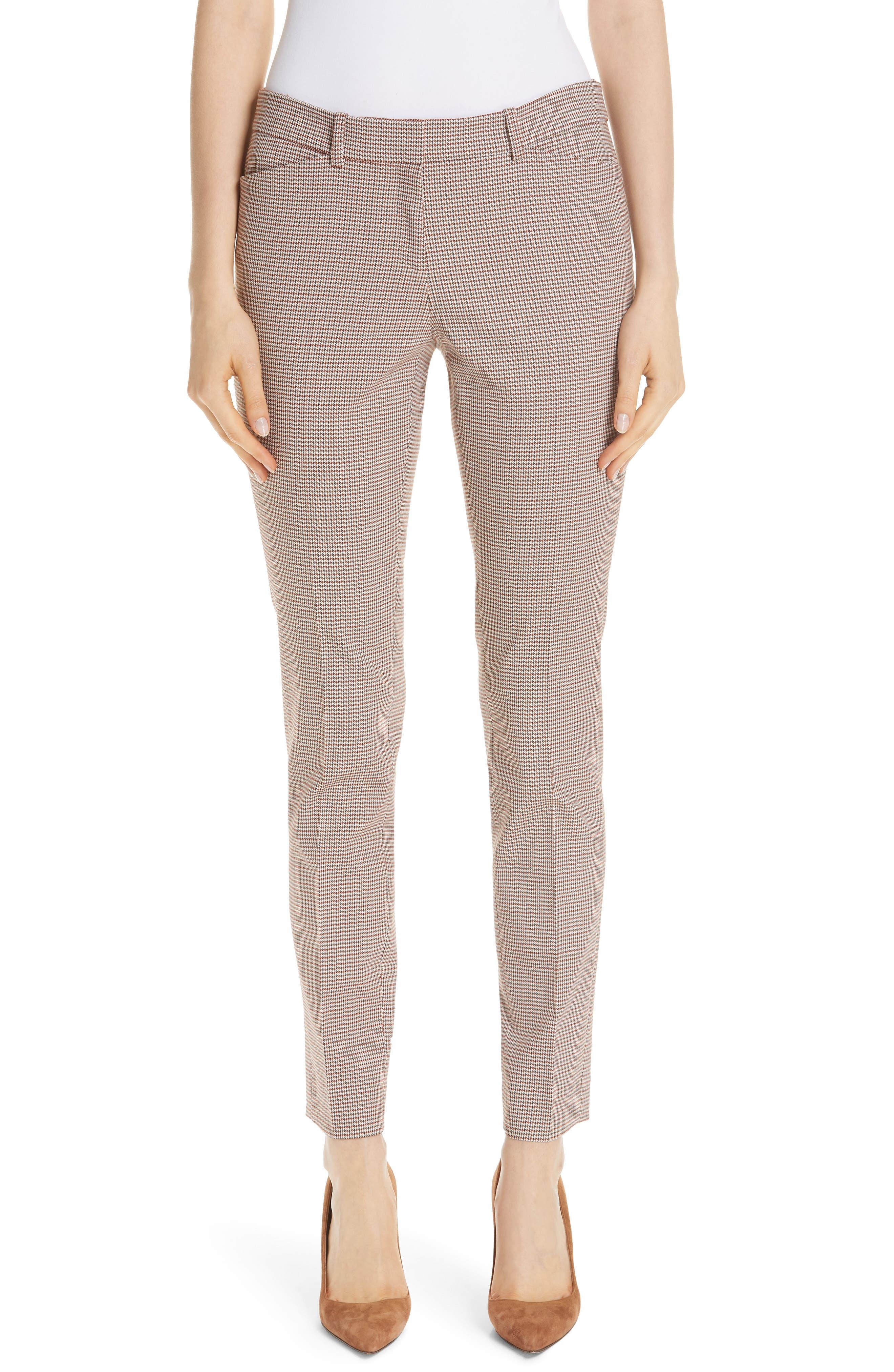 Manhattan Houndstooth Wool Blend Skinny Pants,                         Main,                         color, SAFFRON MULTI
