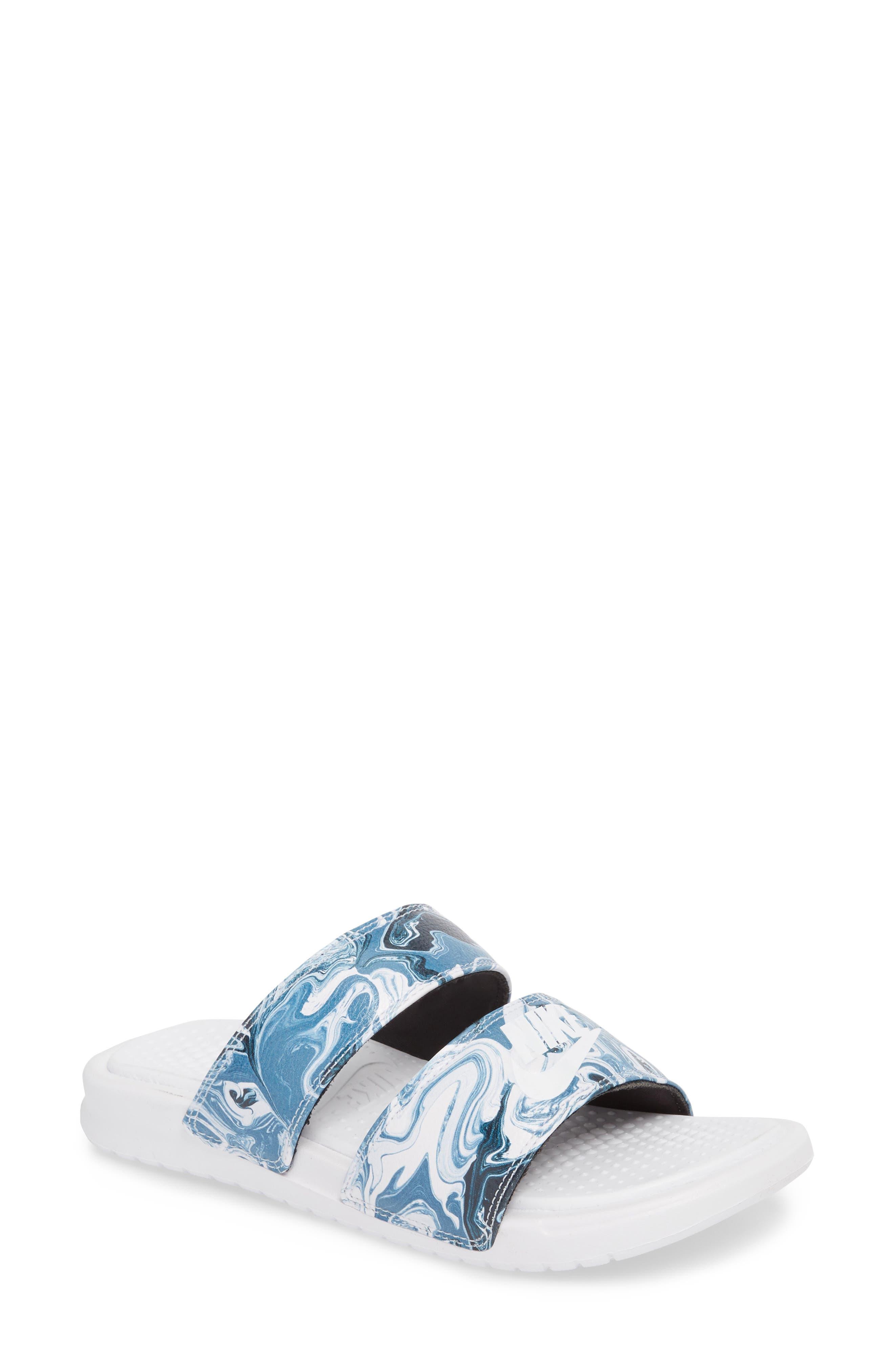 Benassi Duo Ultra Slide Sandal,                             Main thumbnail 1, color,                             BLACK/ WHITE