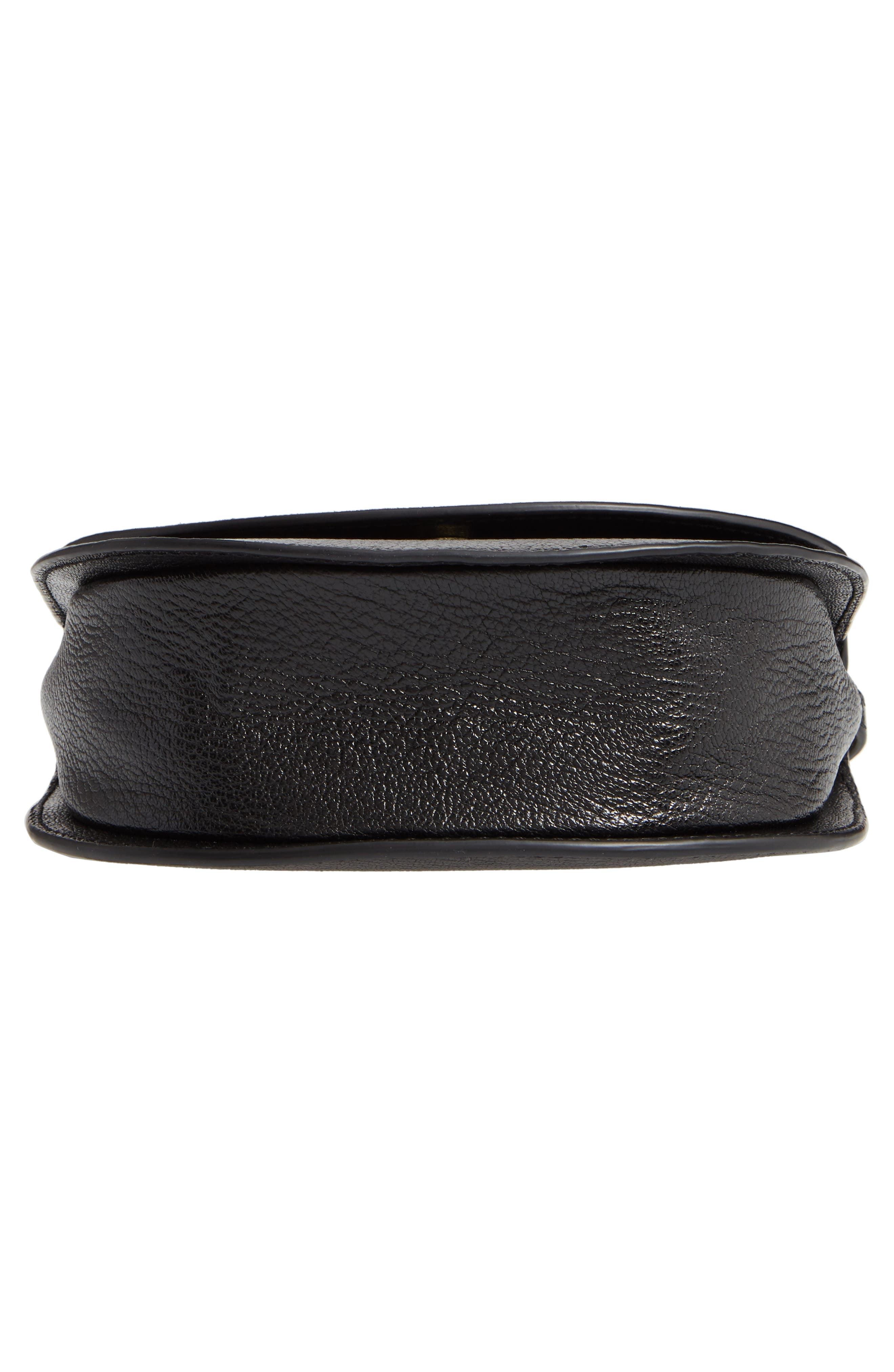 Half Moon Lux Calfskin Leather Crossbody Bag,                             Alternate thumbnail 6, color,                             001