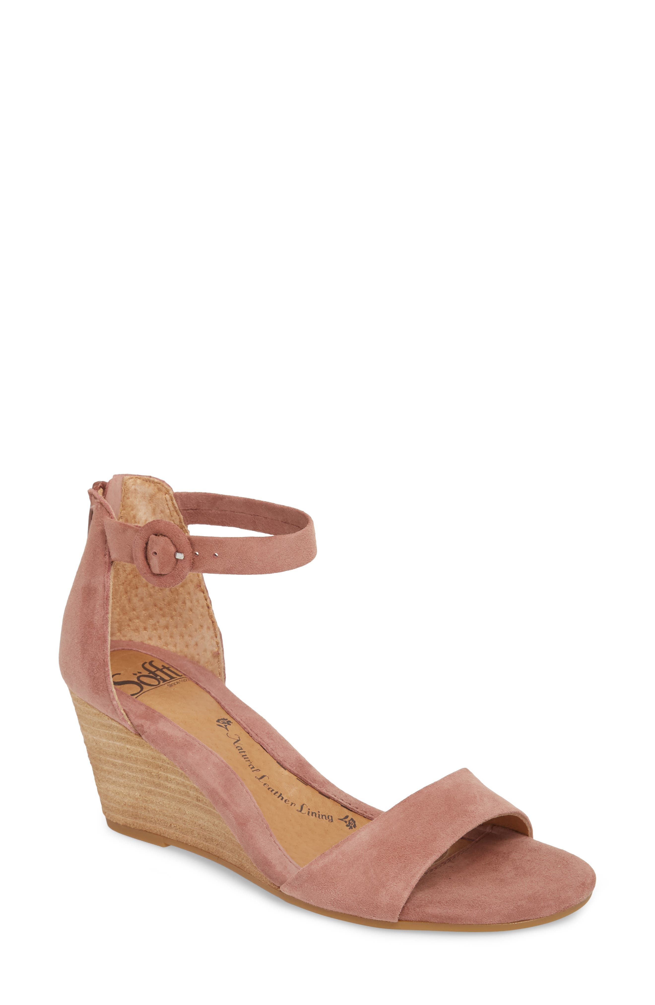 Marla Wedge Sandal,                             Main thumbnail 1, color,                             MULBERRY SUEDE