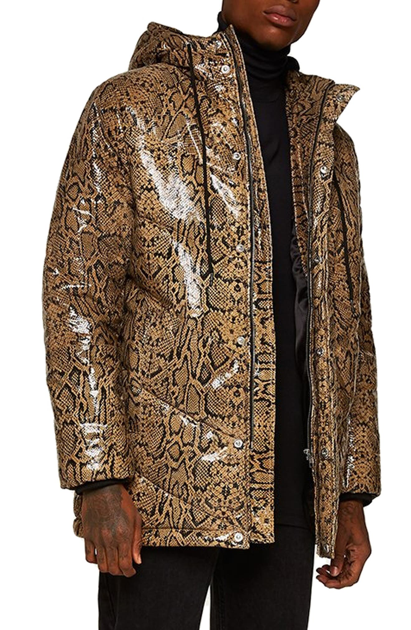 Snakeskin Print Leather Puffer Coat,                         Main,                         color, 200