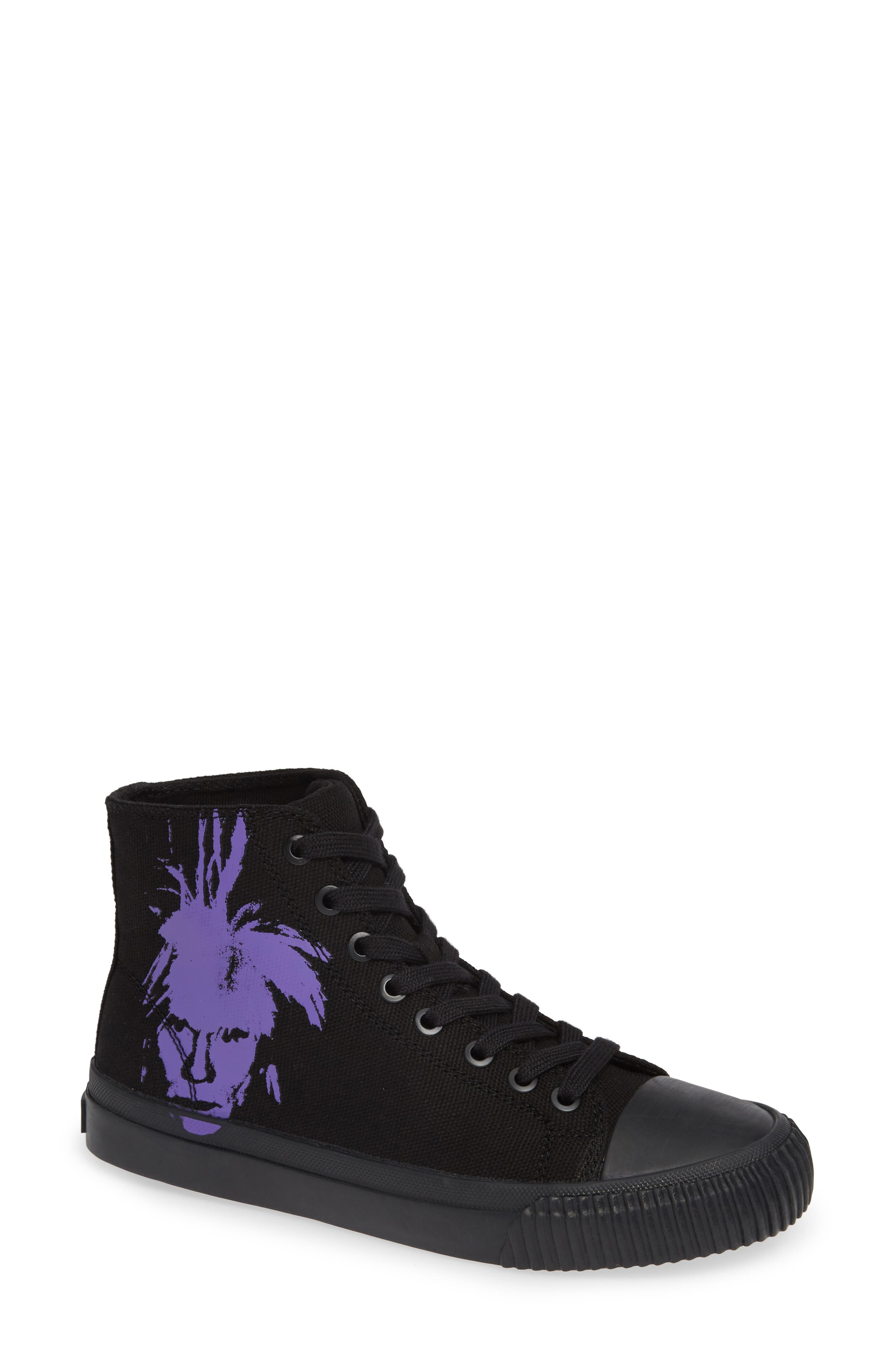 Iconica High Top Sneaker,                             Main thumbnail 1, color,                             BLACK/ PURPLE
