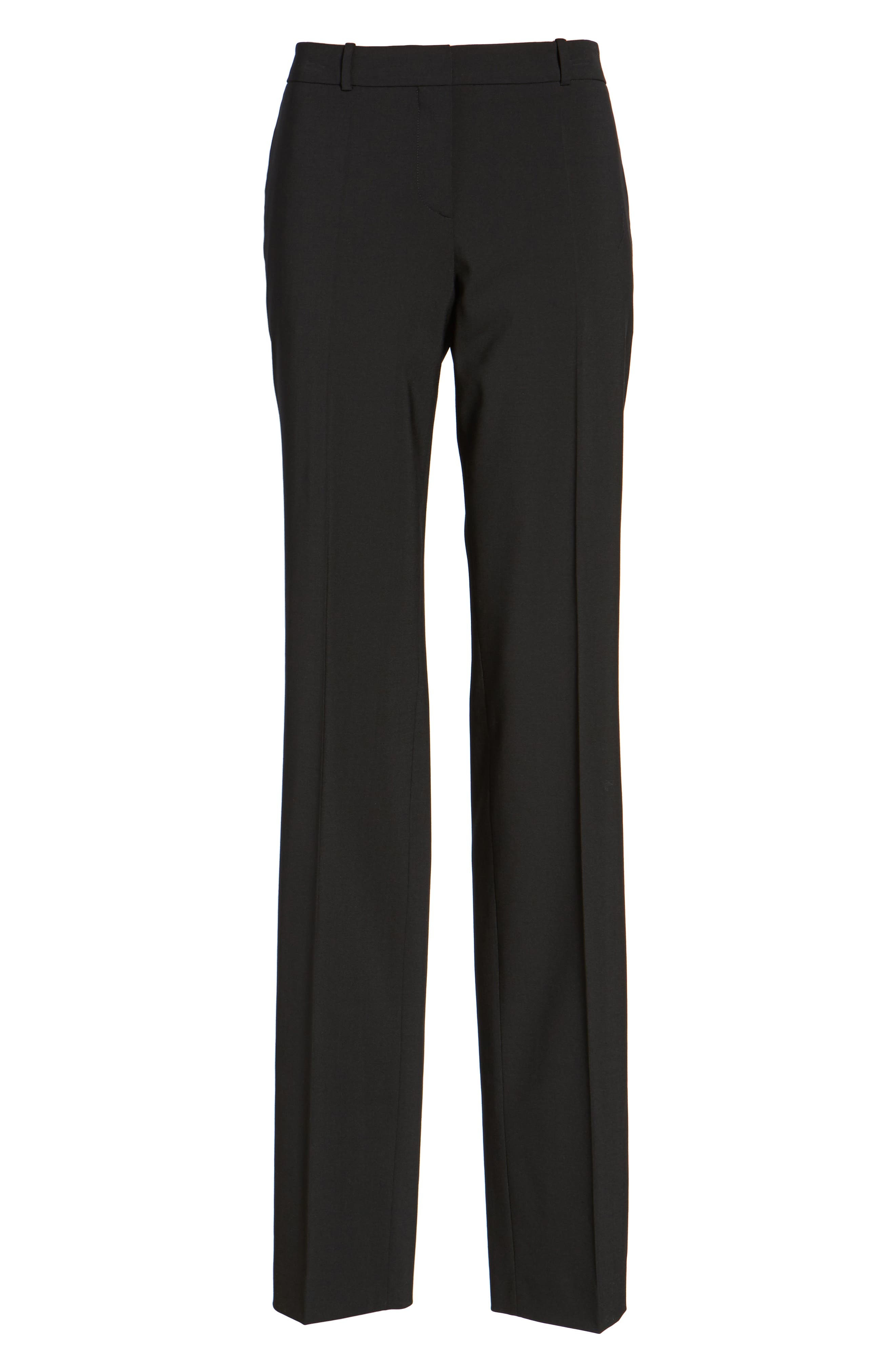 Tamea Tropical Stretch Wool Trousers,                             Alternate thumbnail 7, color,                             BLACK