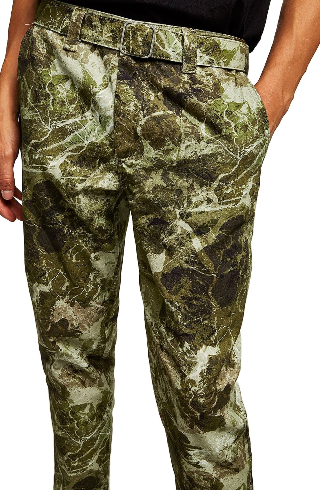 Sand Camouflage Tapered Trousers,                             Alternate thumbnail 3, color,                             GREEN MULTI