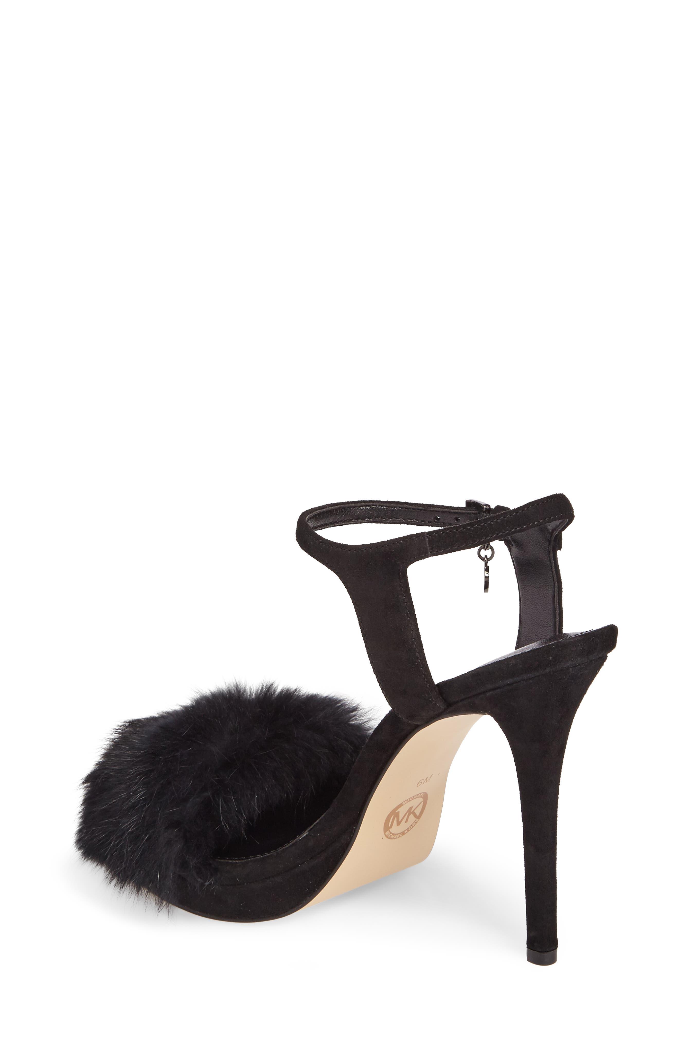 Faye Genuine Rabbit Fur Sandal,                             Alternate thumbnail 2, color,                             001