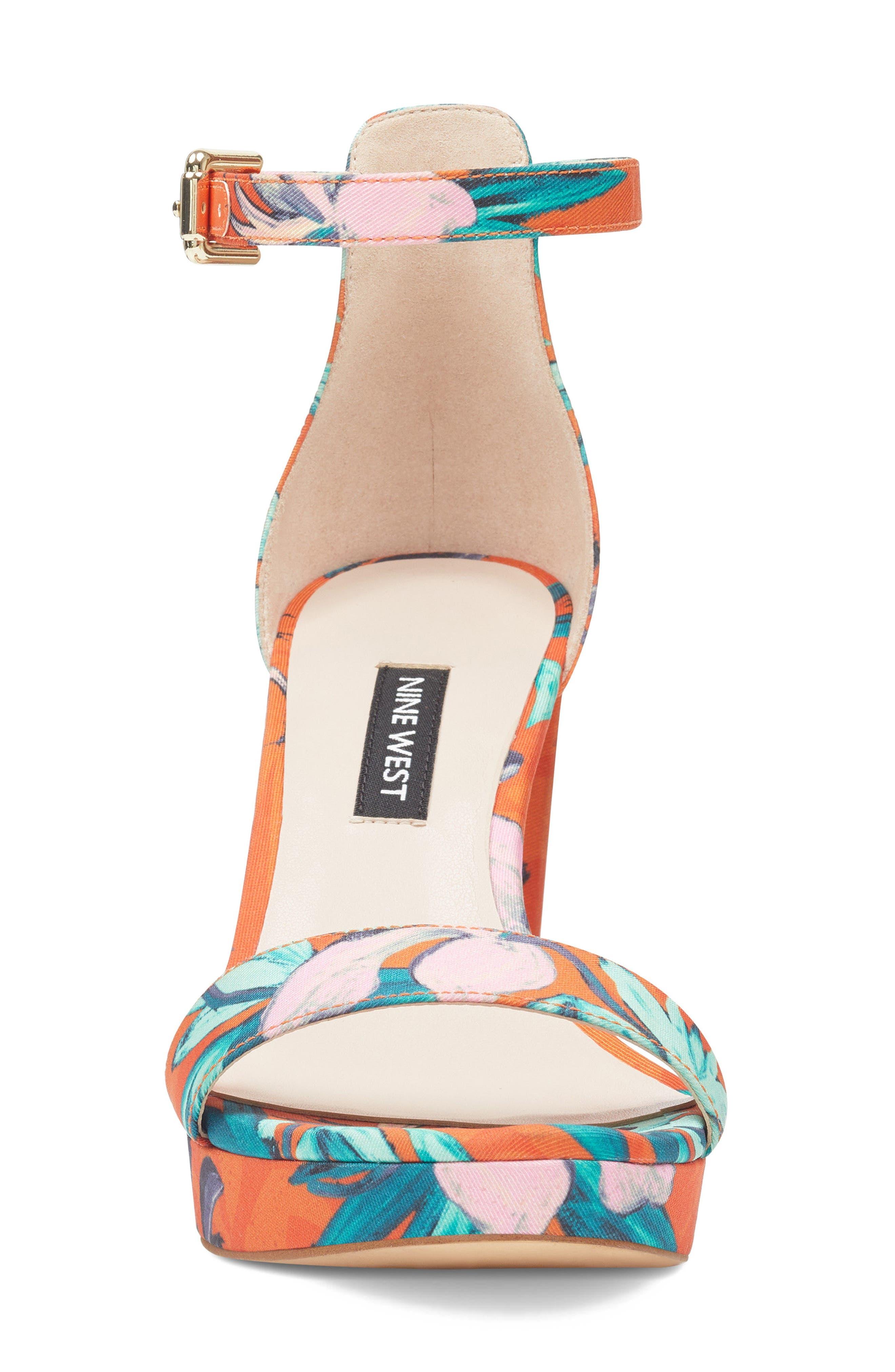 Dempsey Platform Sandal,                             Alternate thumbnail 4, color,                             ORANGE MULTI FABRIC