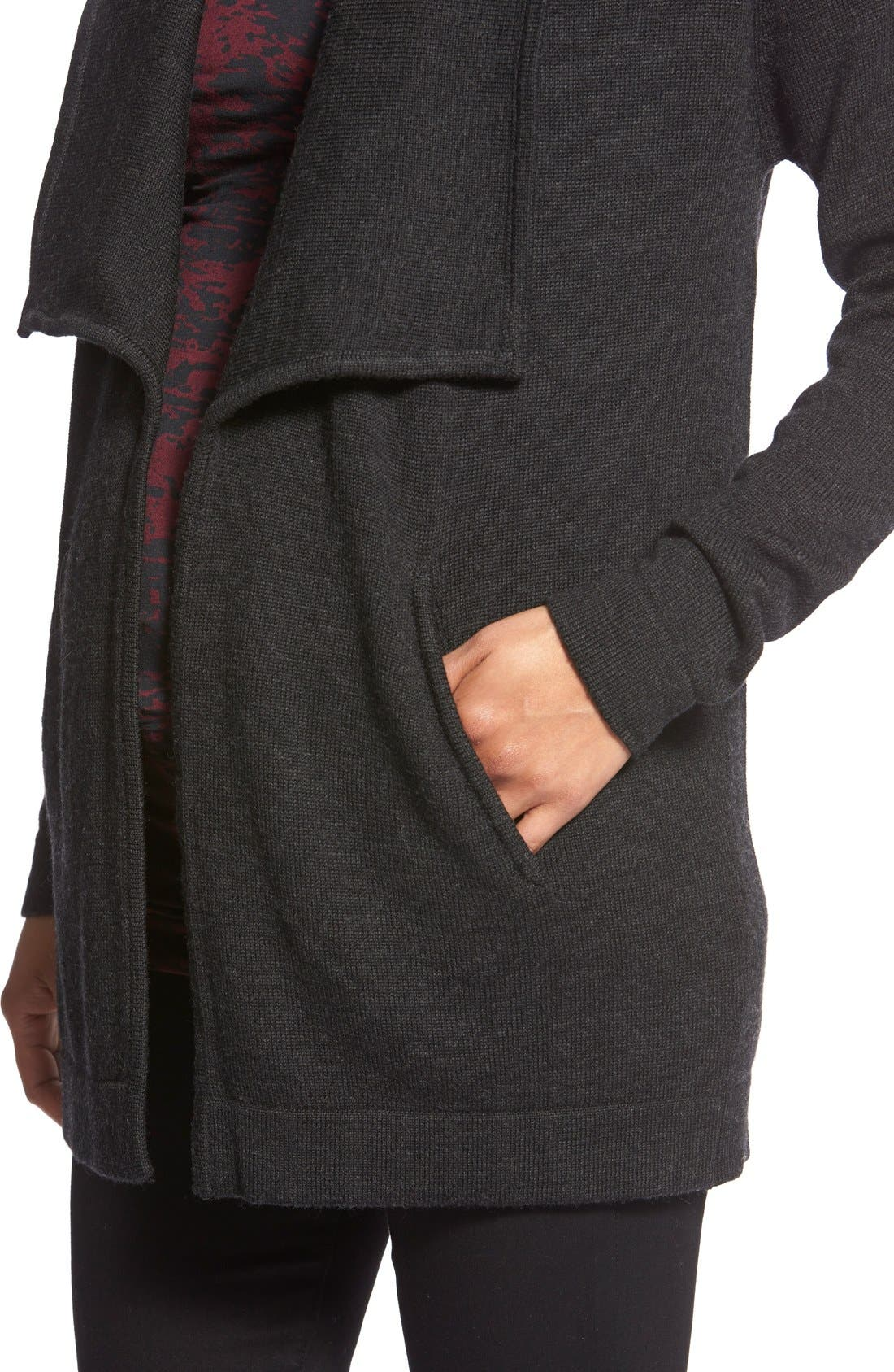 TART MATERNITY,                             'Bain' Open Front Maternity Cardigan,                             Alternate thumbnail 2, color,                             HEATHERED BLACK
