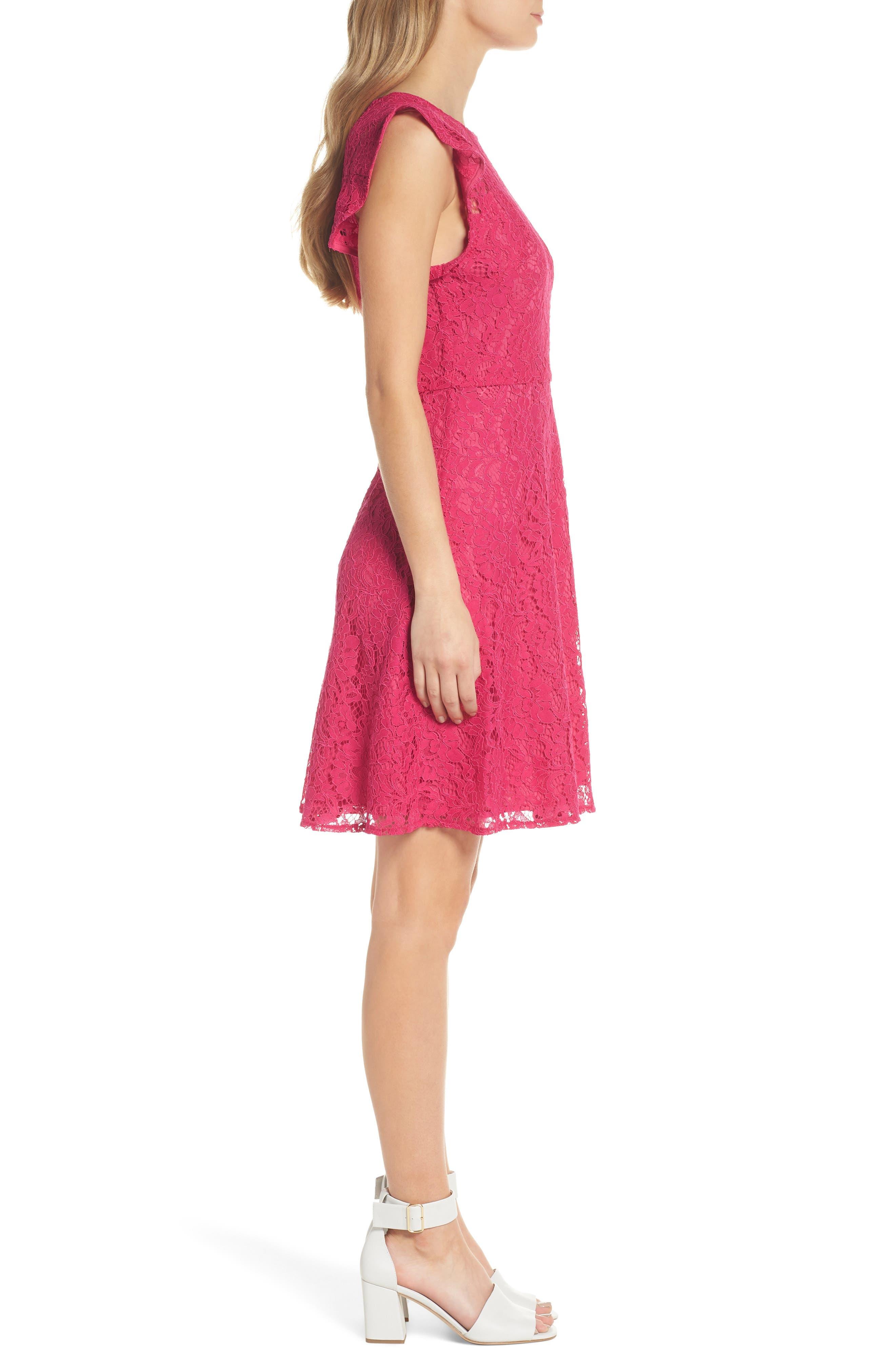 Lace Fit & Flare Dress,                             Alternate thumbnail 3, color,