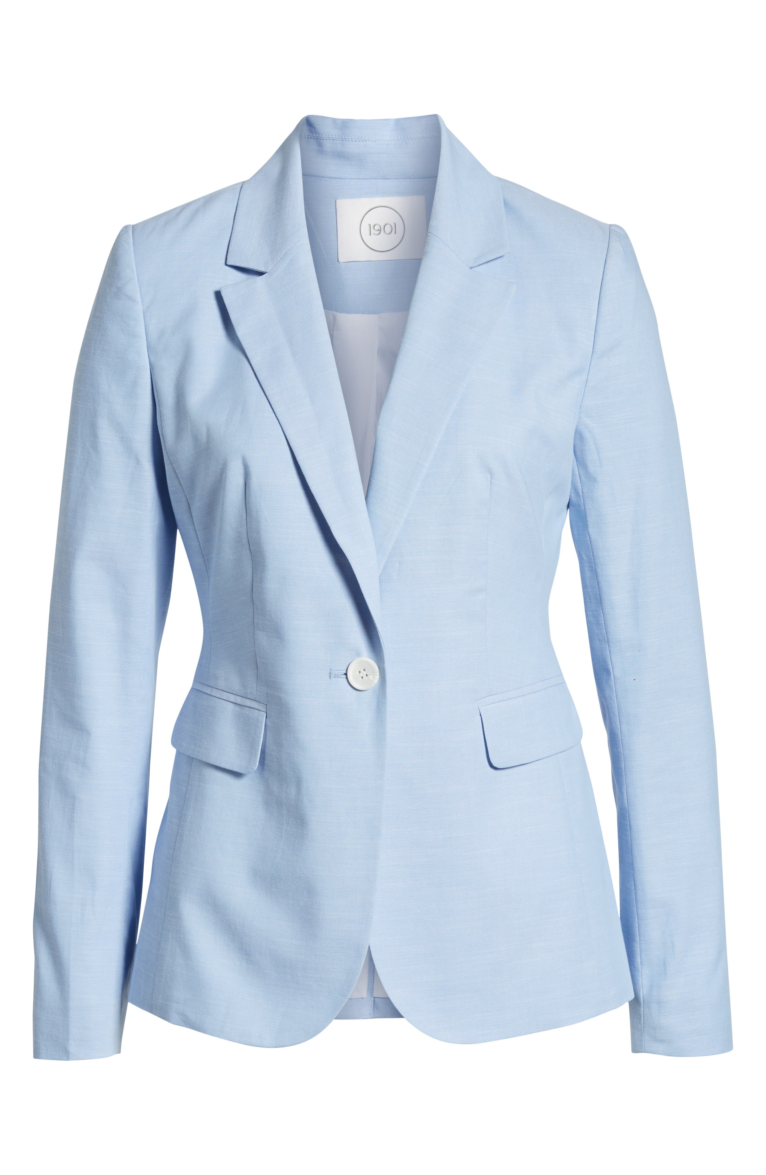 Cotton Chambray Blazer,                             Alternate thumbnail 5, color,                             CHAMBRAY
