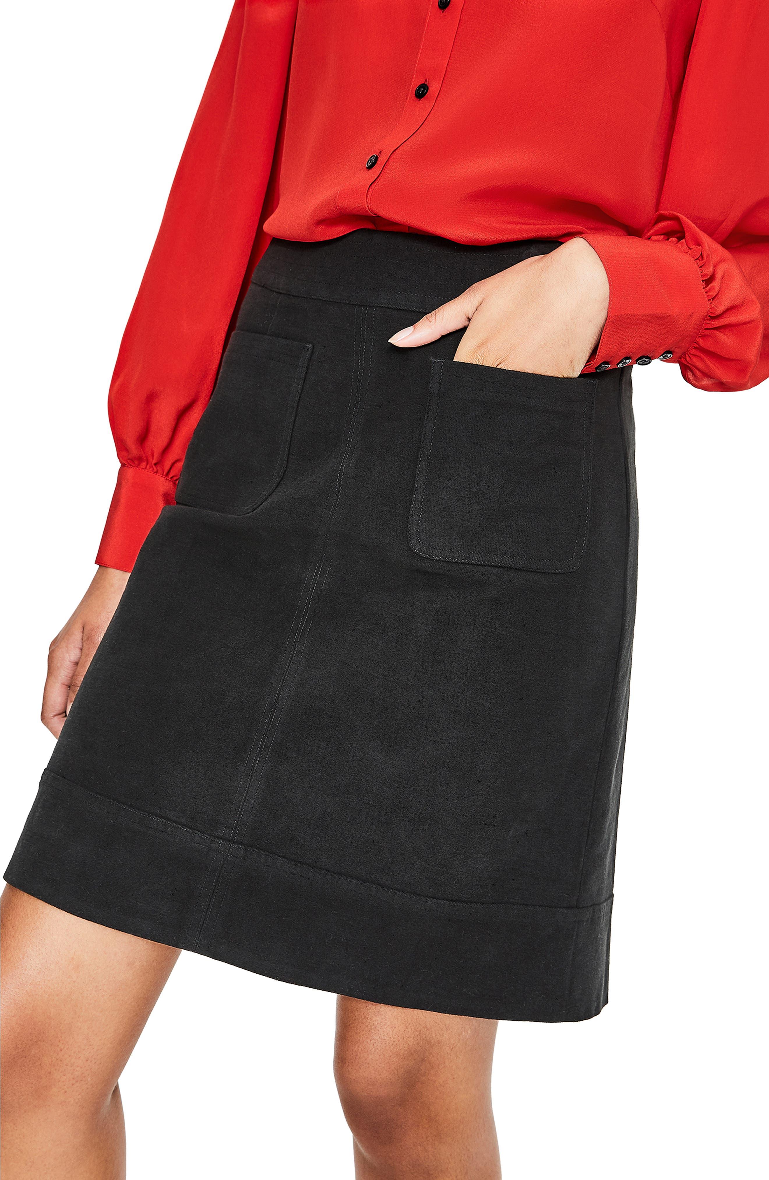 BODEN,                             Dorchester Patch Pocket Stretch Cotton Miniskirt,                             Alternate thumbnail 4, color,                             001