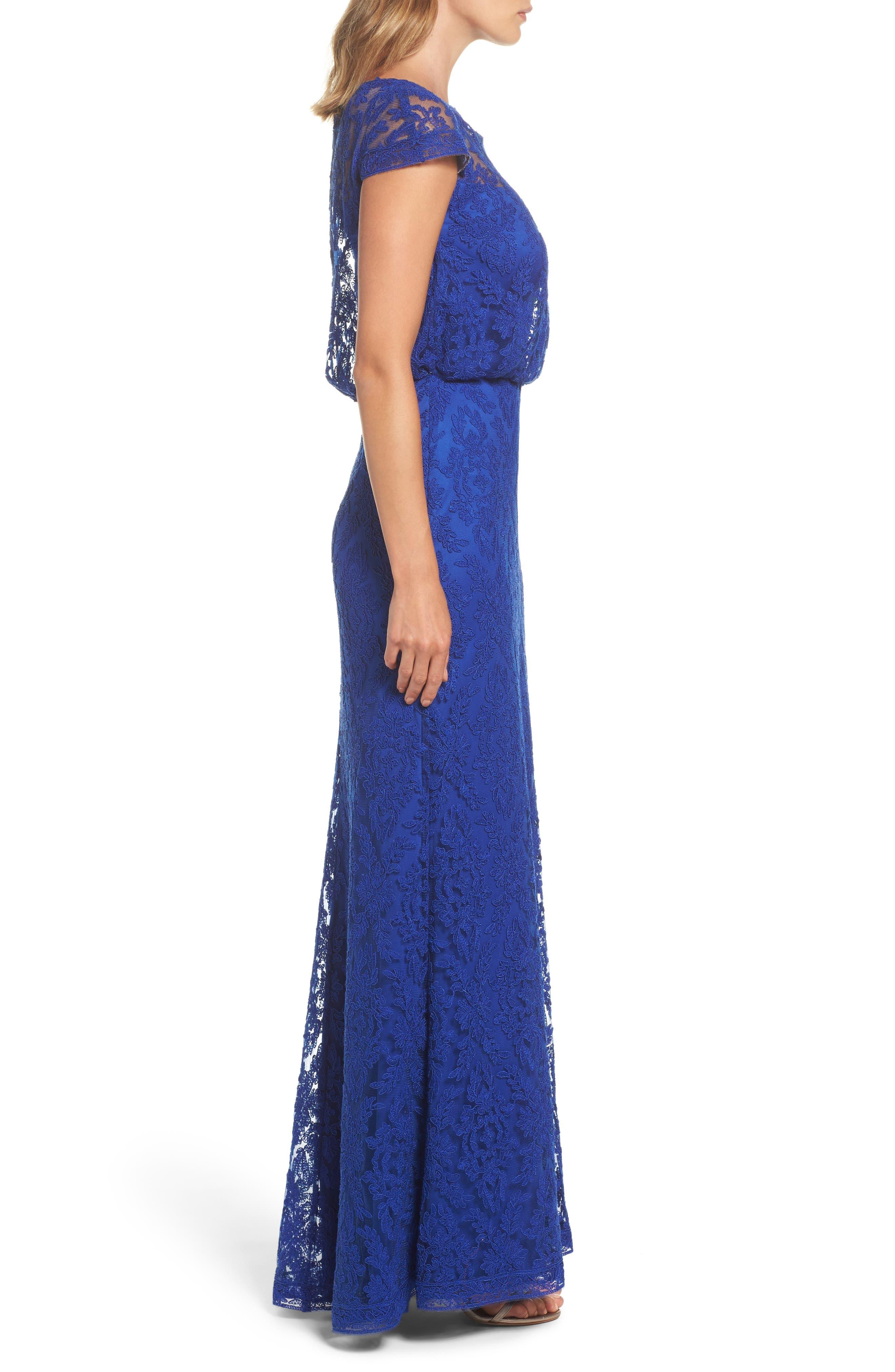 Corded Lace Blouson Gown,                             Alternate thumbnail 3, color,                             428