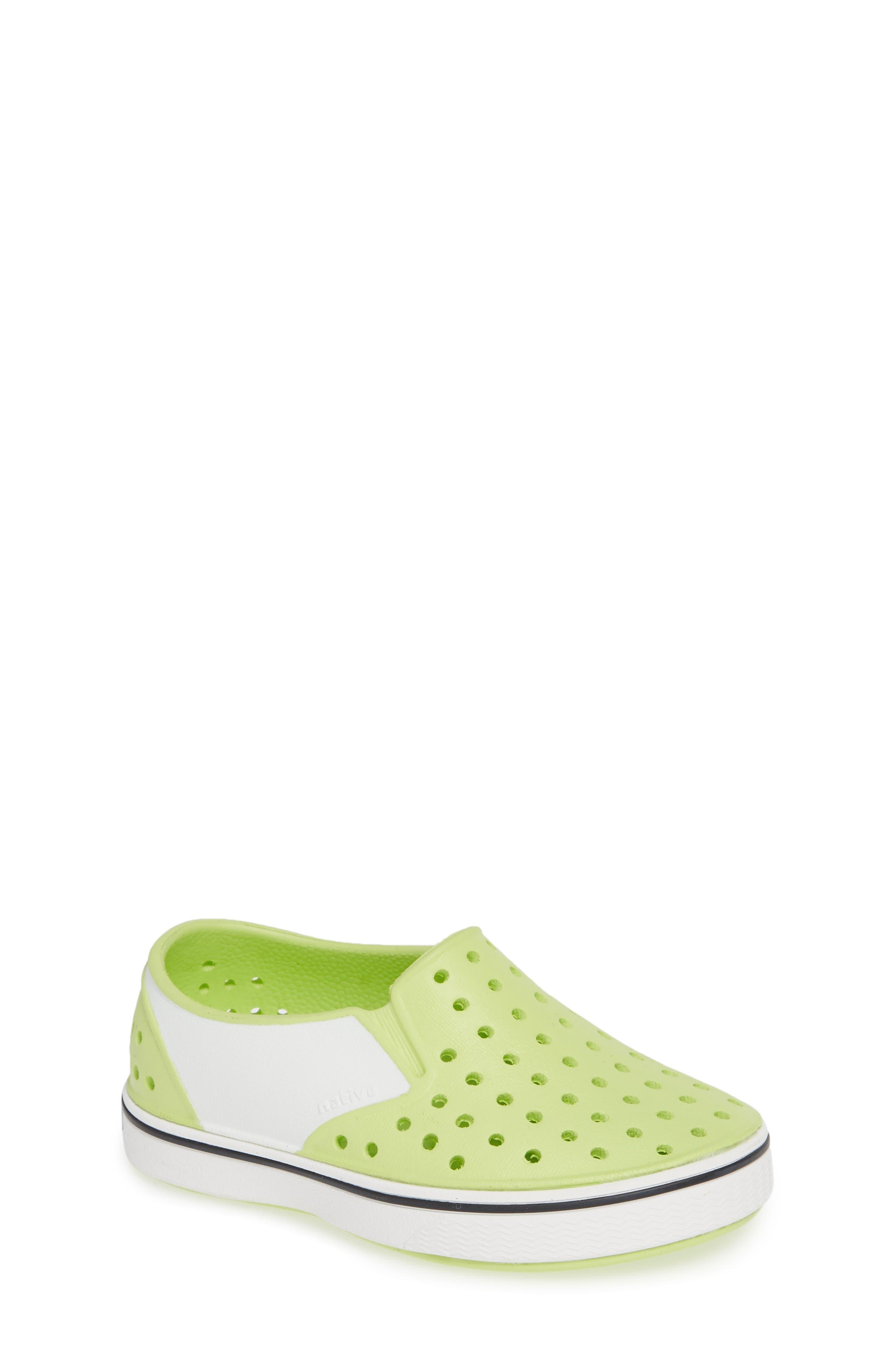 Miles Colorblock Slip-On Sneaker,                             Main thumbnail 1, color,                             SUNNY GREEN/ SHELL WHITE