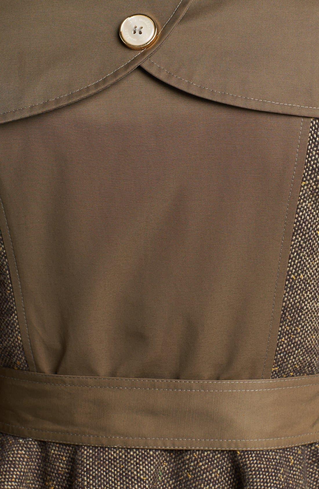 STEVE MADDEN,                             Tweed Panel Peplum Trench Coat,                             Alternate thumbnail 3, color,                             300