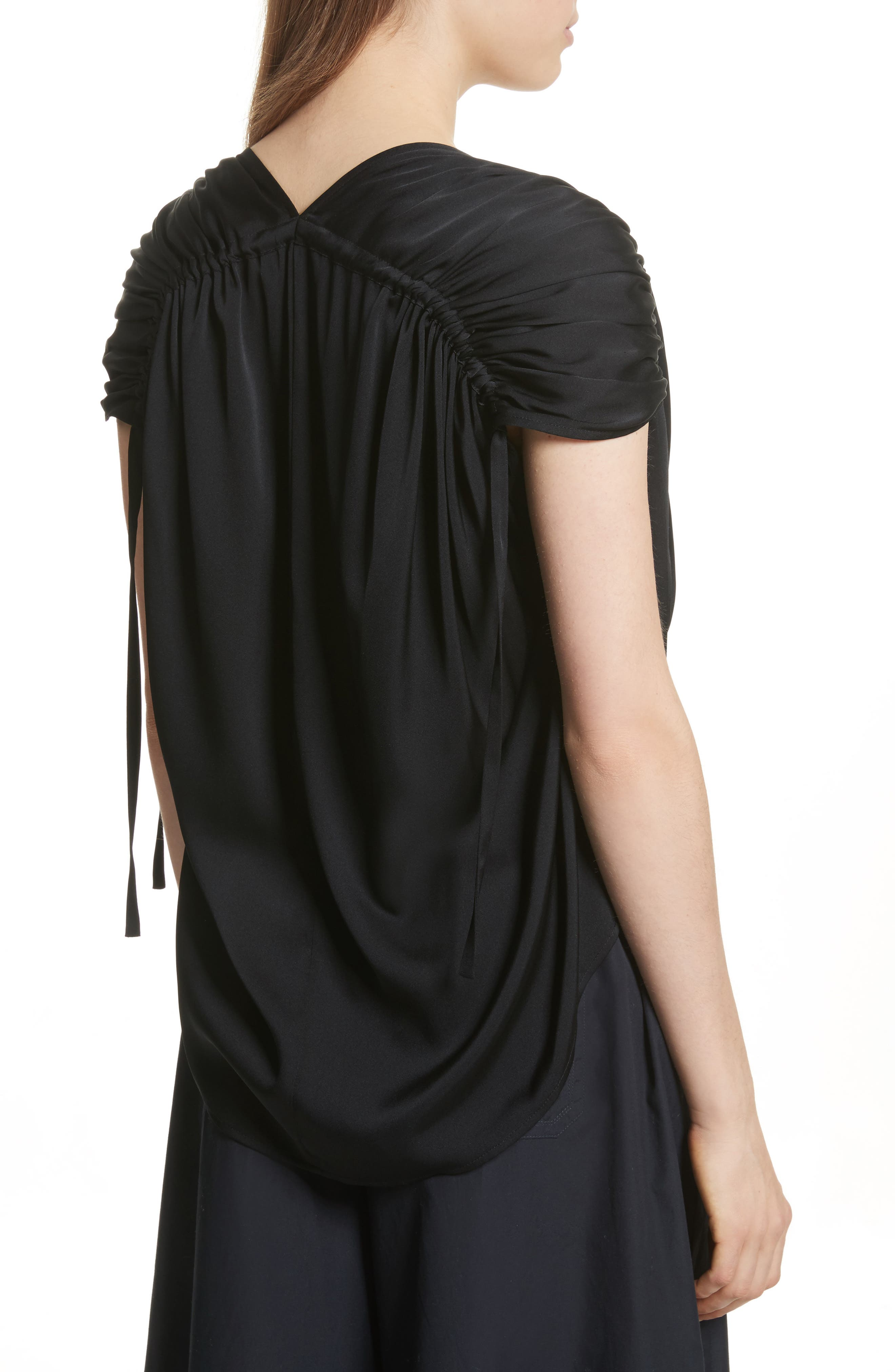 Ruched Silk Top,                             Alternate thumbnail 3, color,